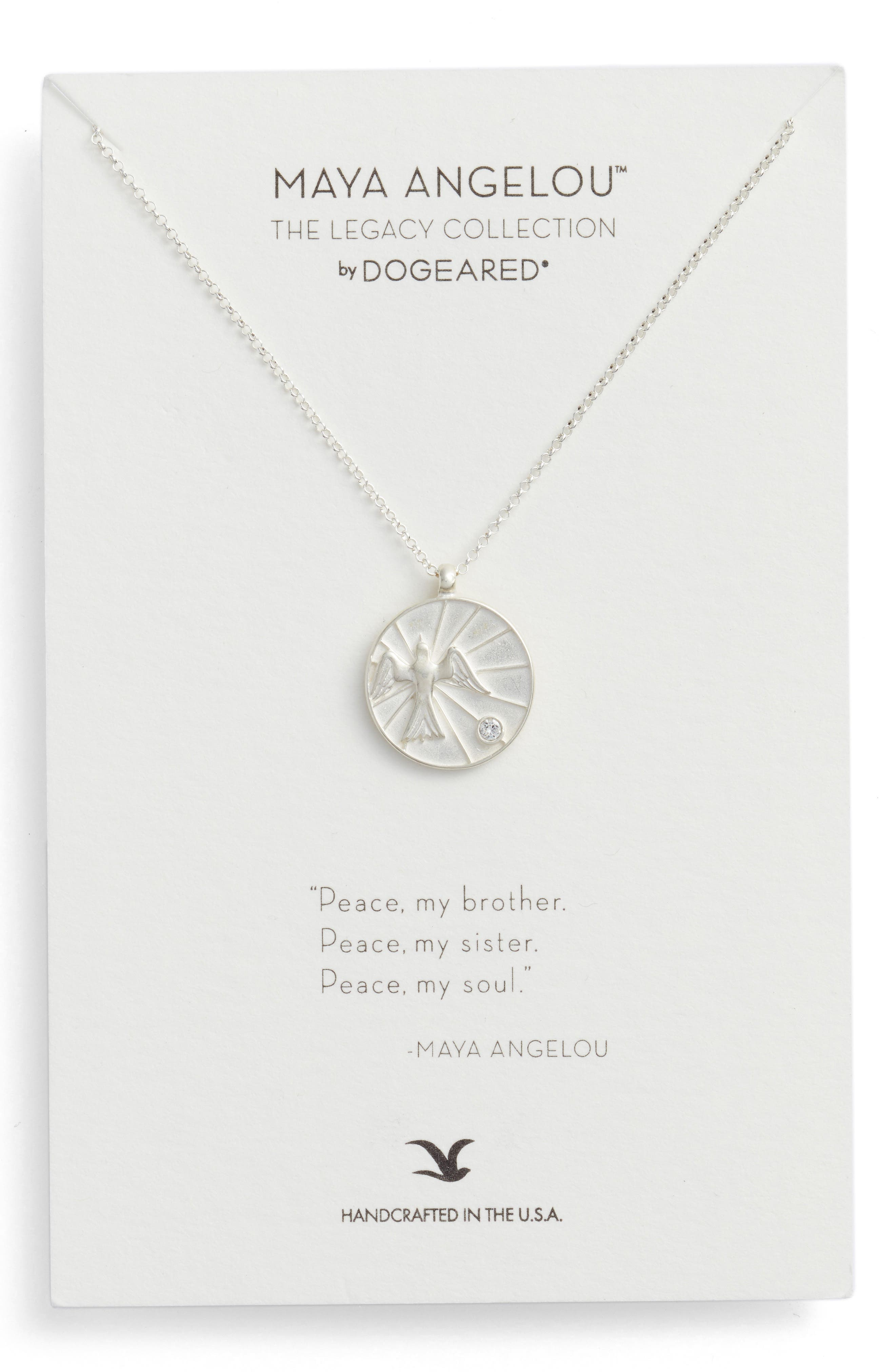 The Legacy Collection - Peace, My Brother Pendant Necklace,                             Main thumbnail 1, color,                             Silver