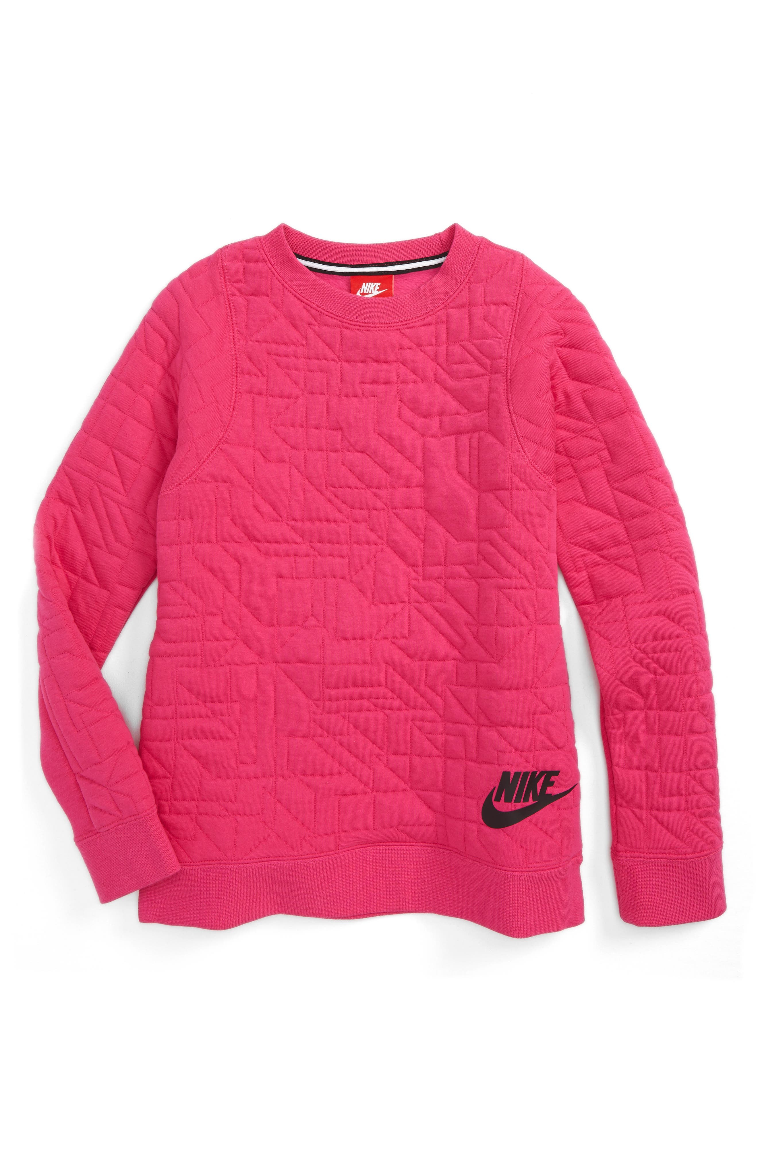 Alternate Image 1 Selected - Nike Modern Matelassé Sweatshirt (Big Girls)