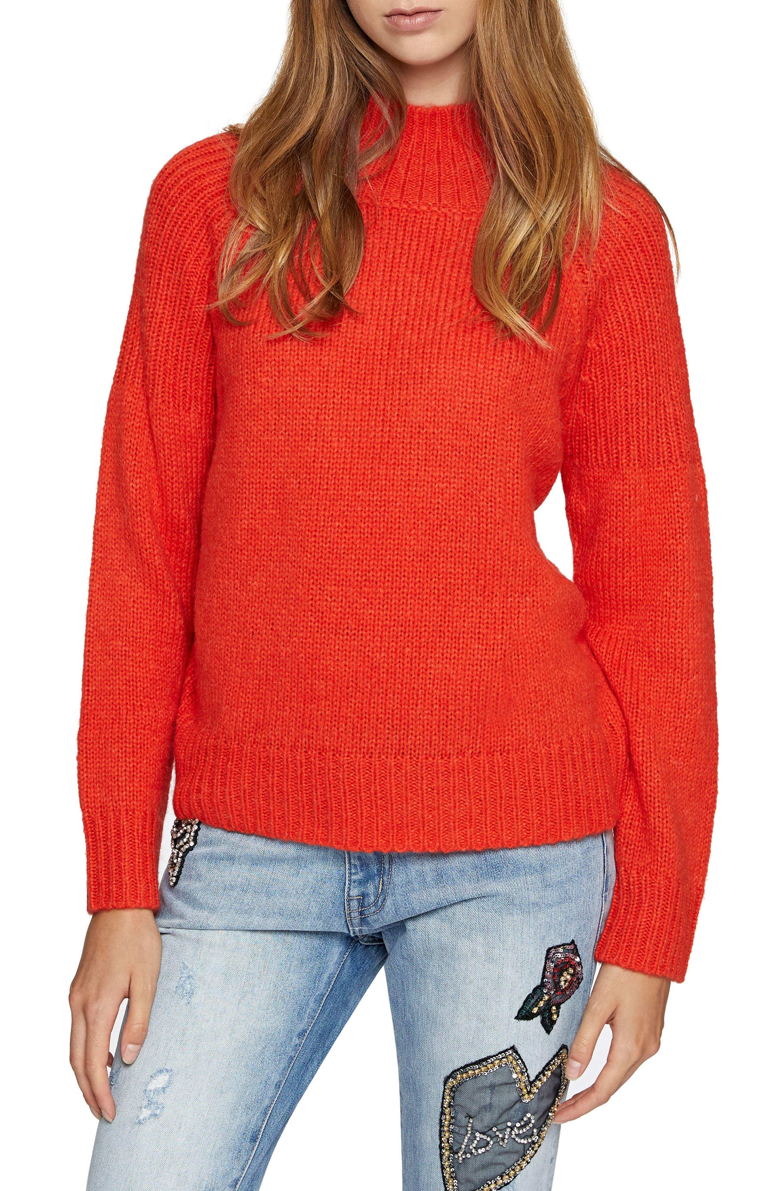 Fiona Cotton Blend Turtleneck,                             Main thumbnail 1, color,                             Orange Lacquer