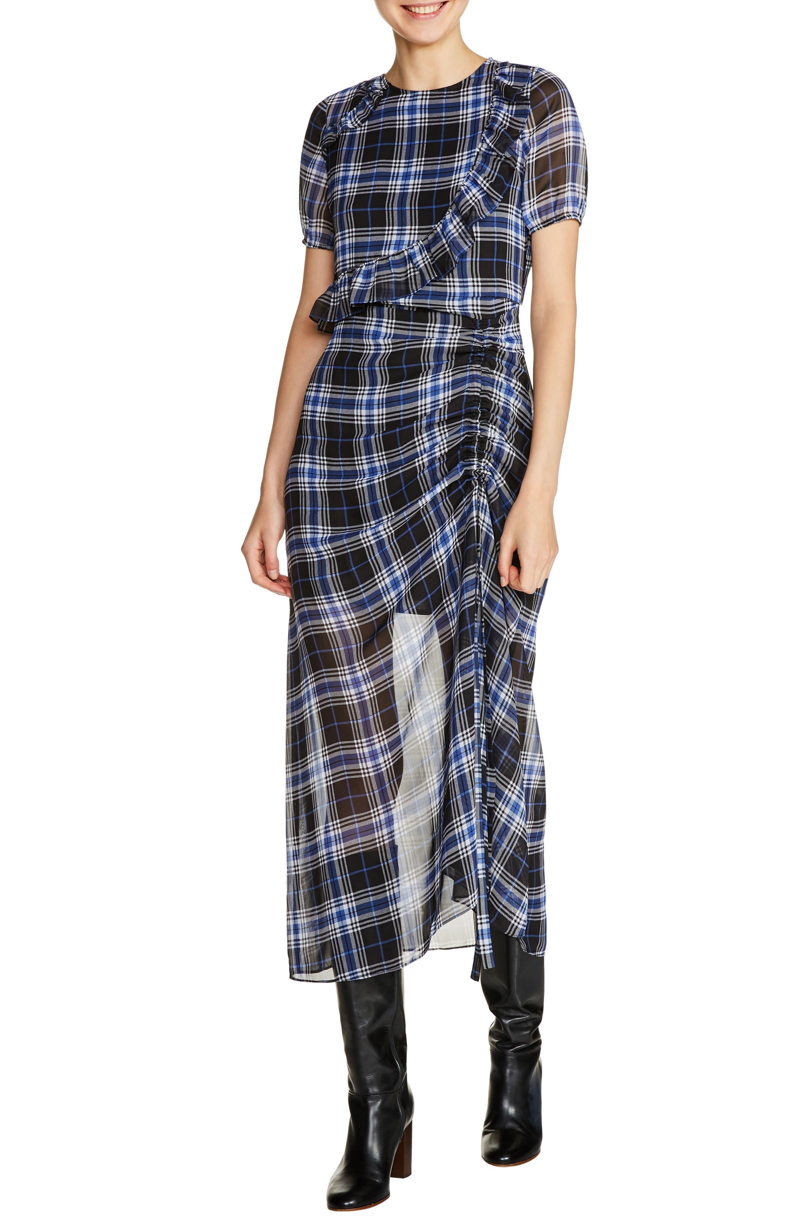 maje Check Plaid Midi Dress