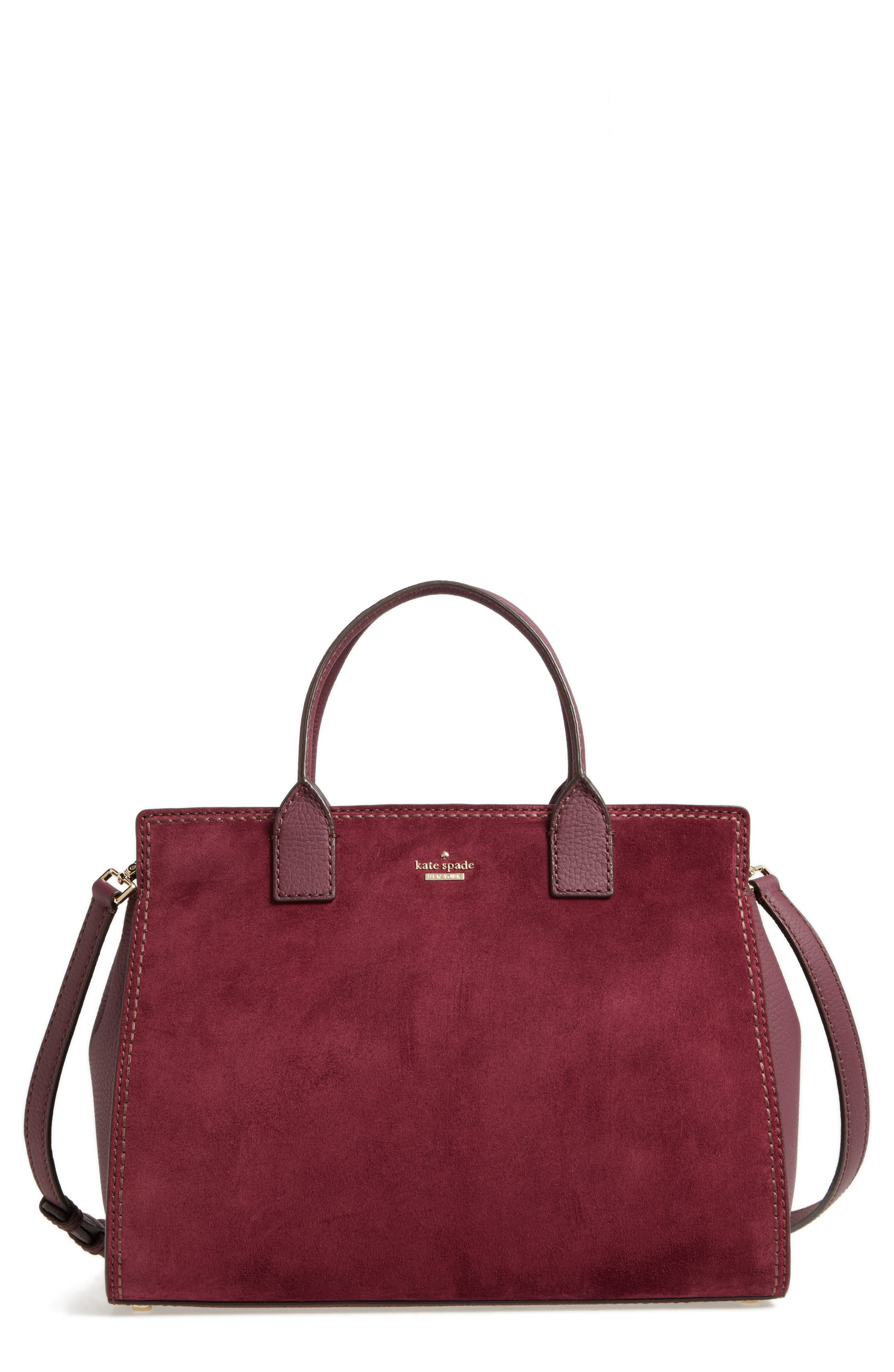 dunne lane lake suede satchel,                             Main thumbnail 1, color,                             Deep Wine