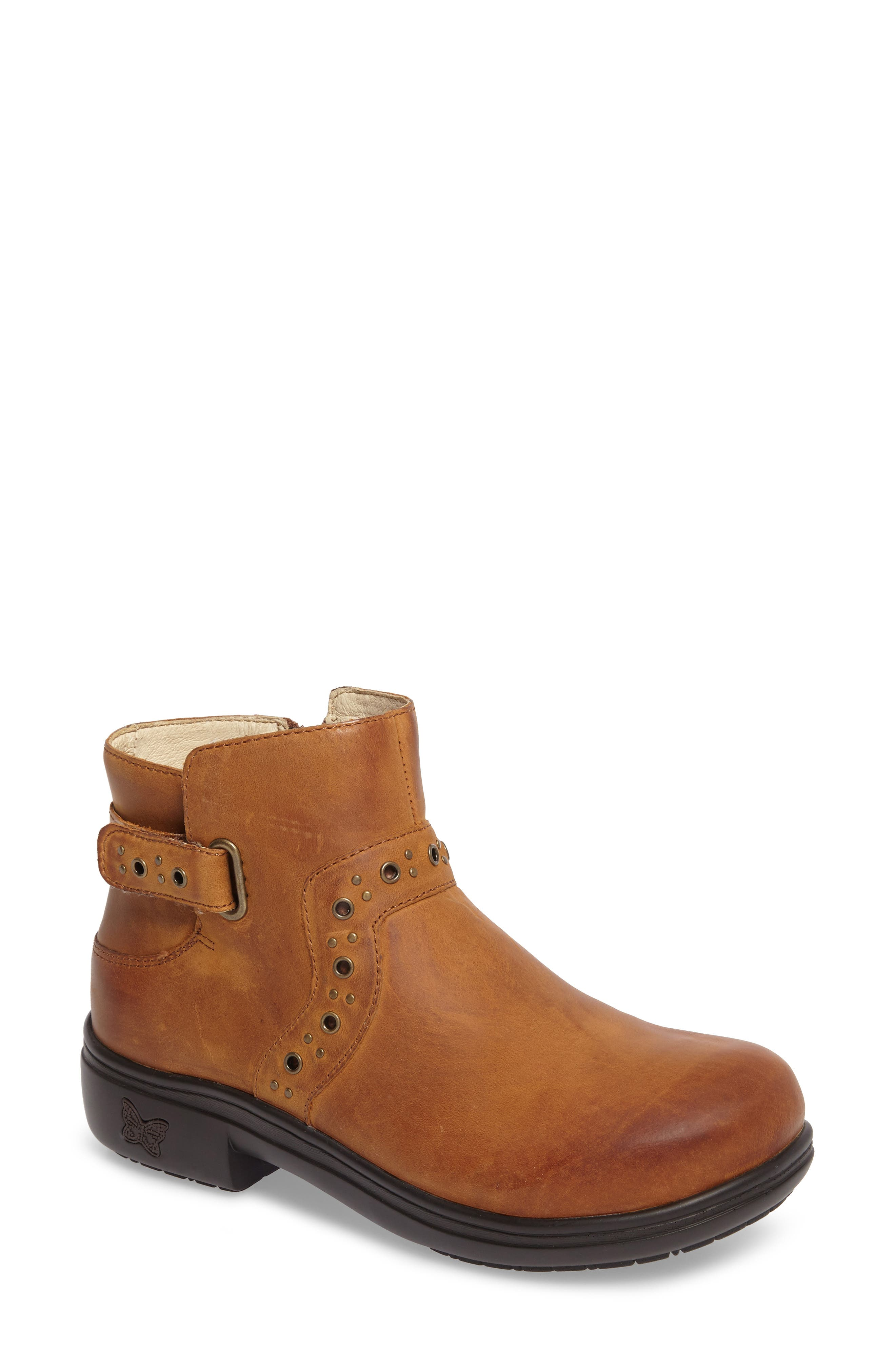 Zoey Ankle Boot,                             Main thumbnail 1, color,                             Walnut Leather