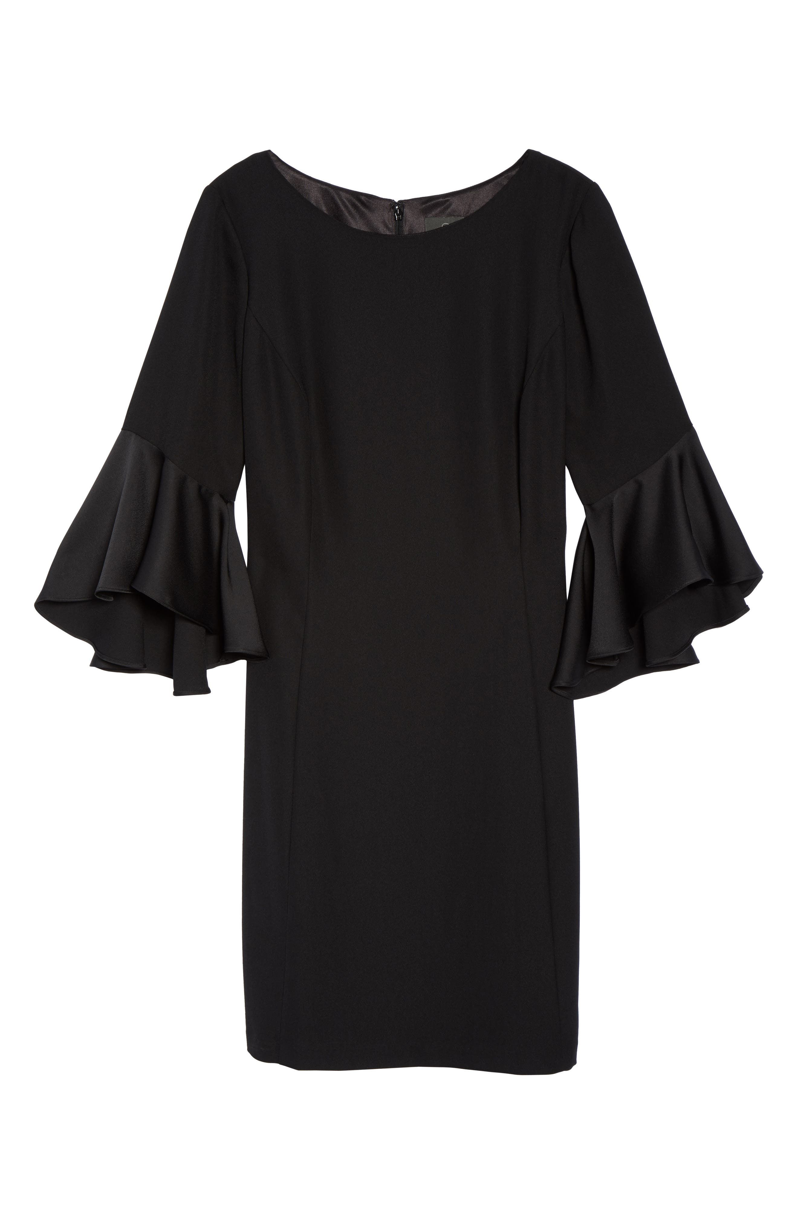 Bell Sleeve A-Line Dress,                             Alternate thumbnail 6, color,                             Black