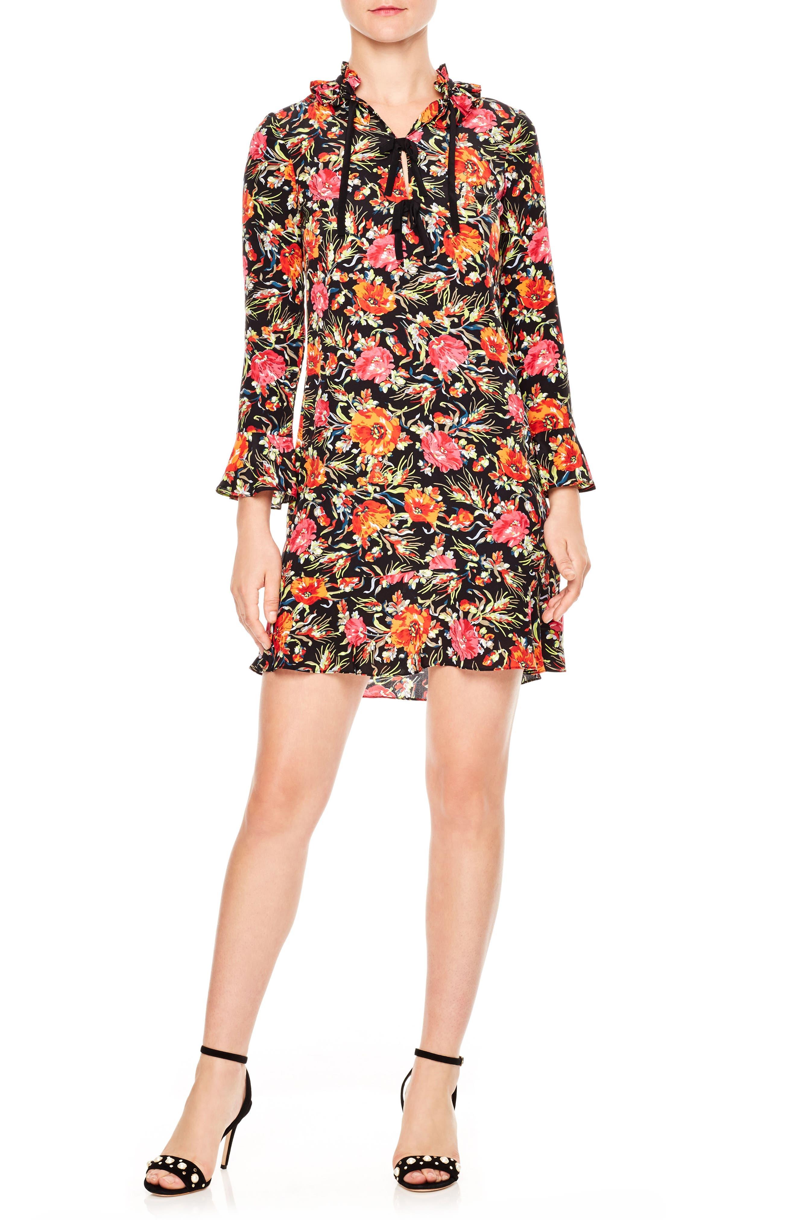 sandro Print Silk Dress