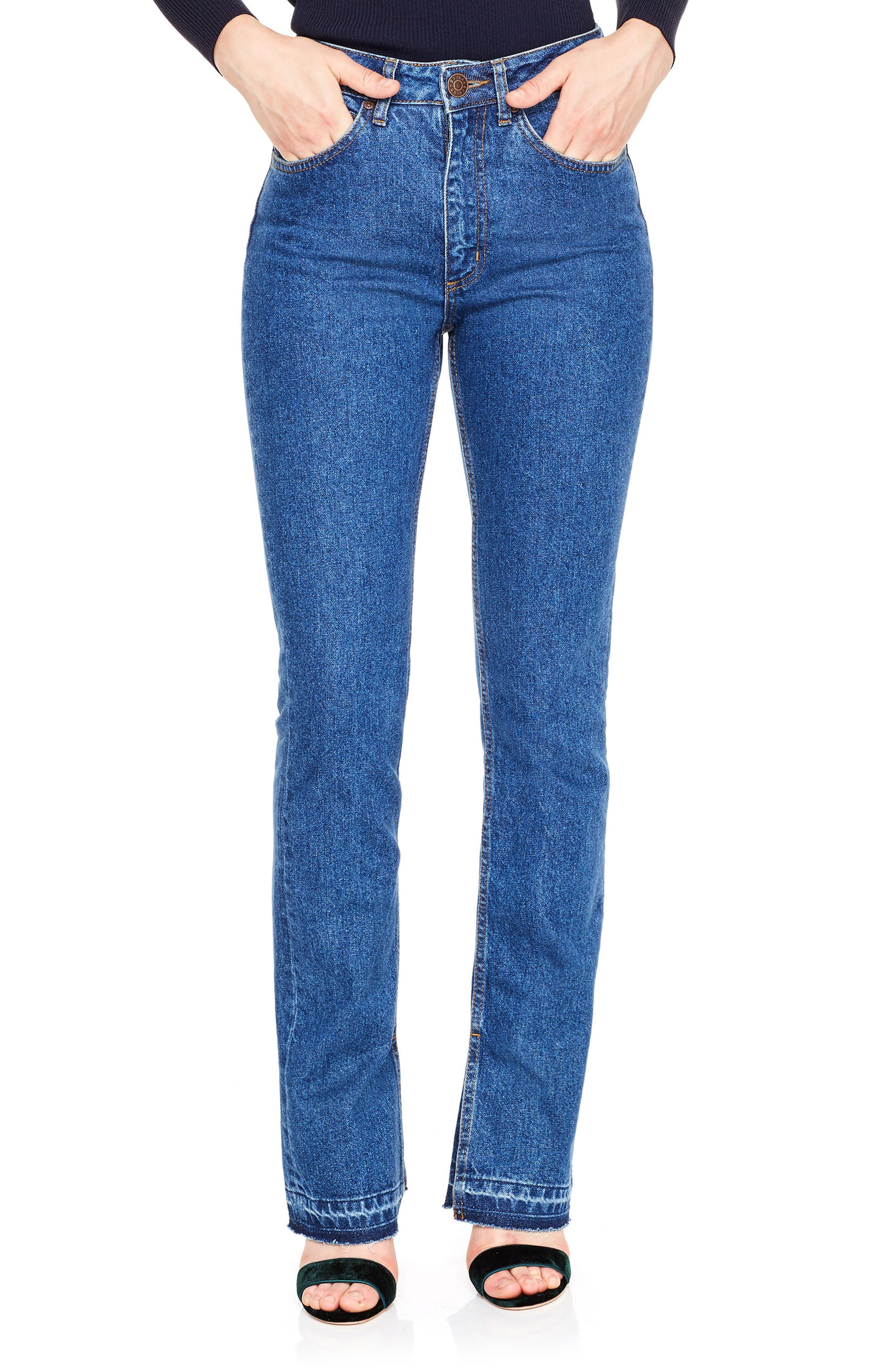 sandro Viky Slit Release Hem Straight Leg Jeans