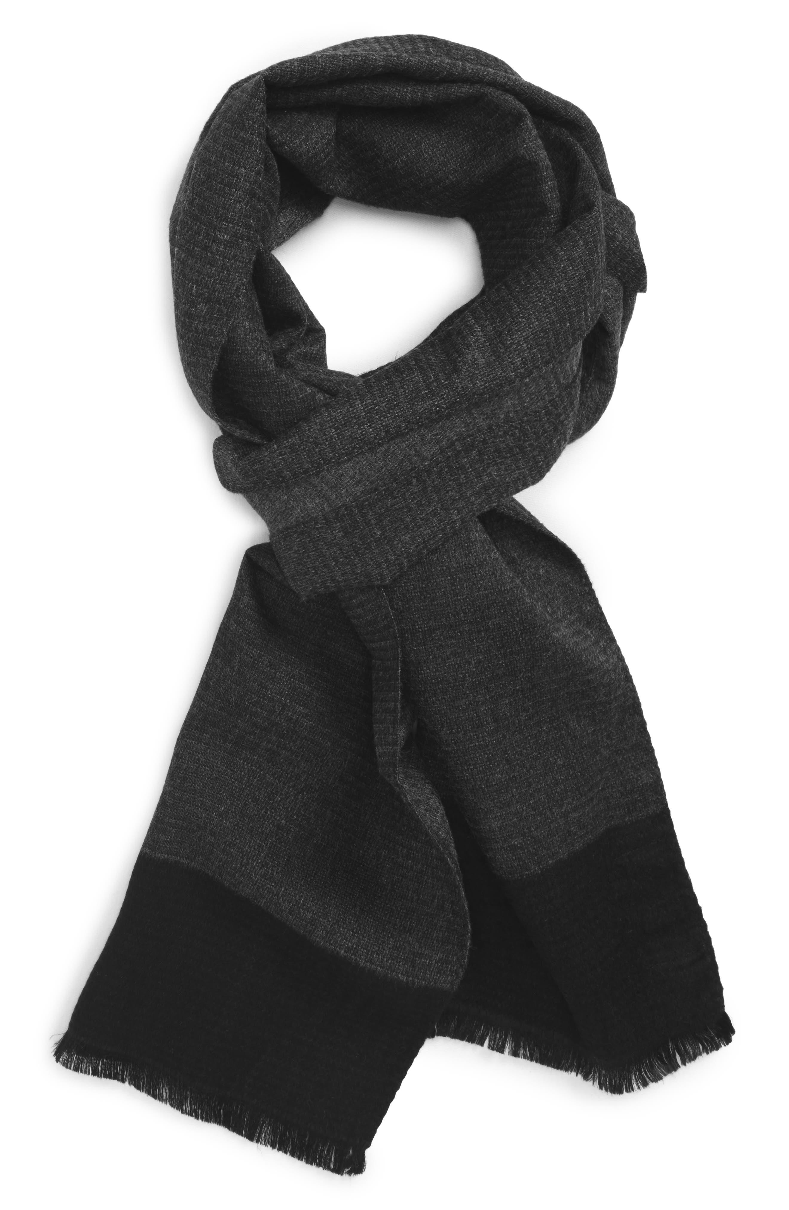 Plain Weave Silk Blend Scarf,                             Main thumbnail 1, color,                             Charcoal Heather