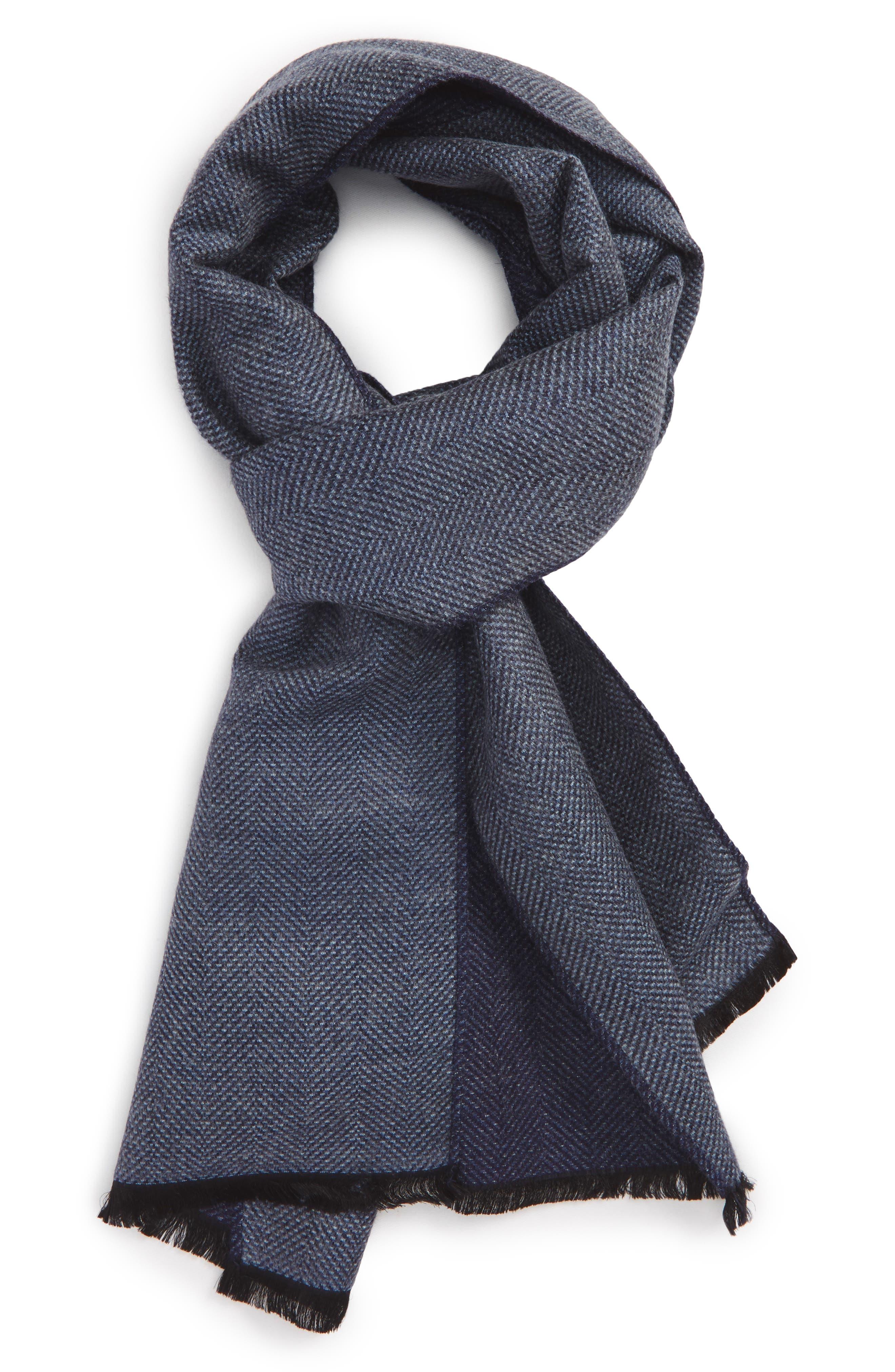 Alternate Image 1 Selected - Nordstrom Men's Shop Herringbone Silk Blend Scarf