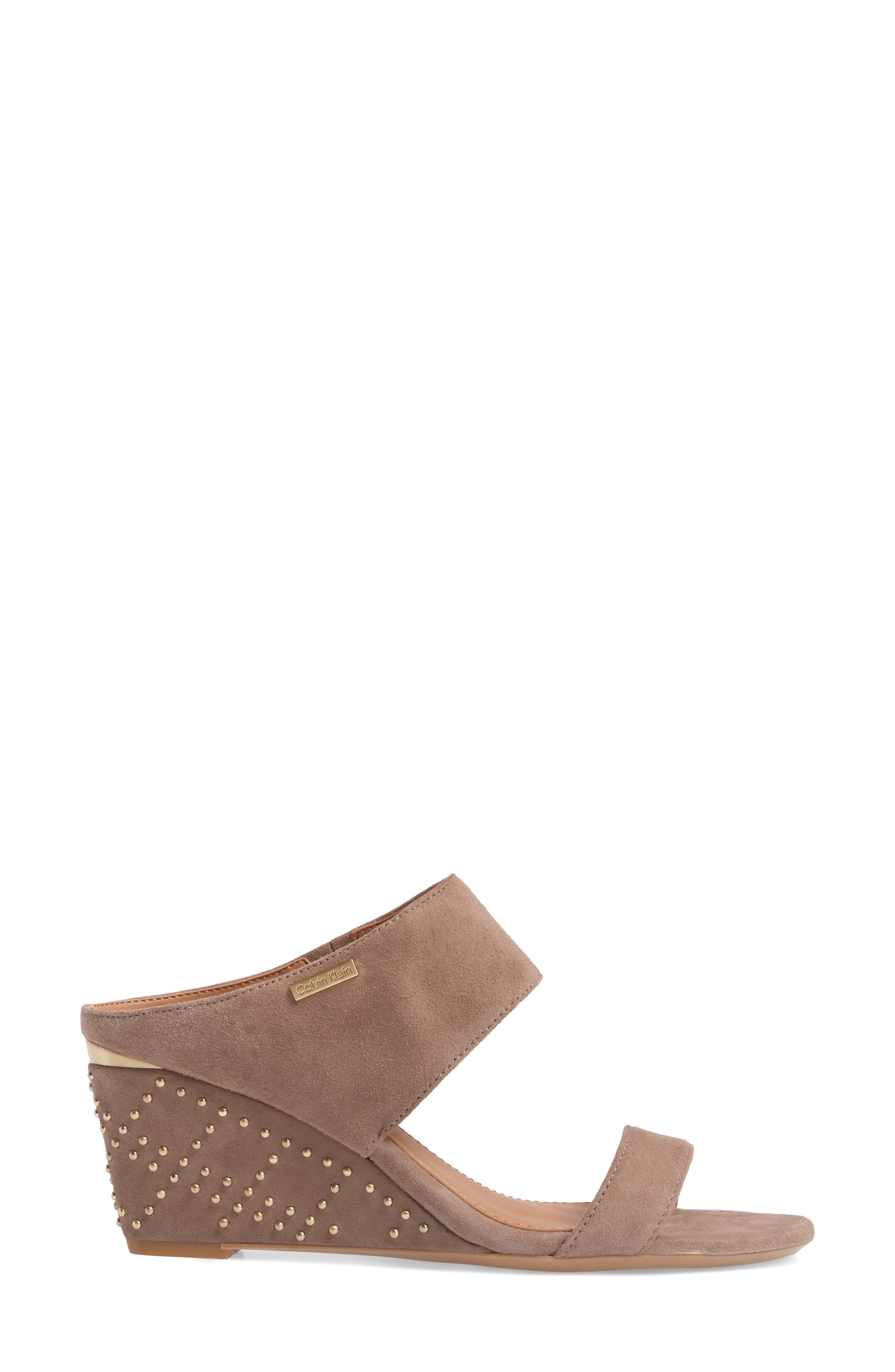 Phyllis Studded Wedge Sandal,                             Alternate thumbnail 3, color,                             Winter Taupe Suede