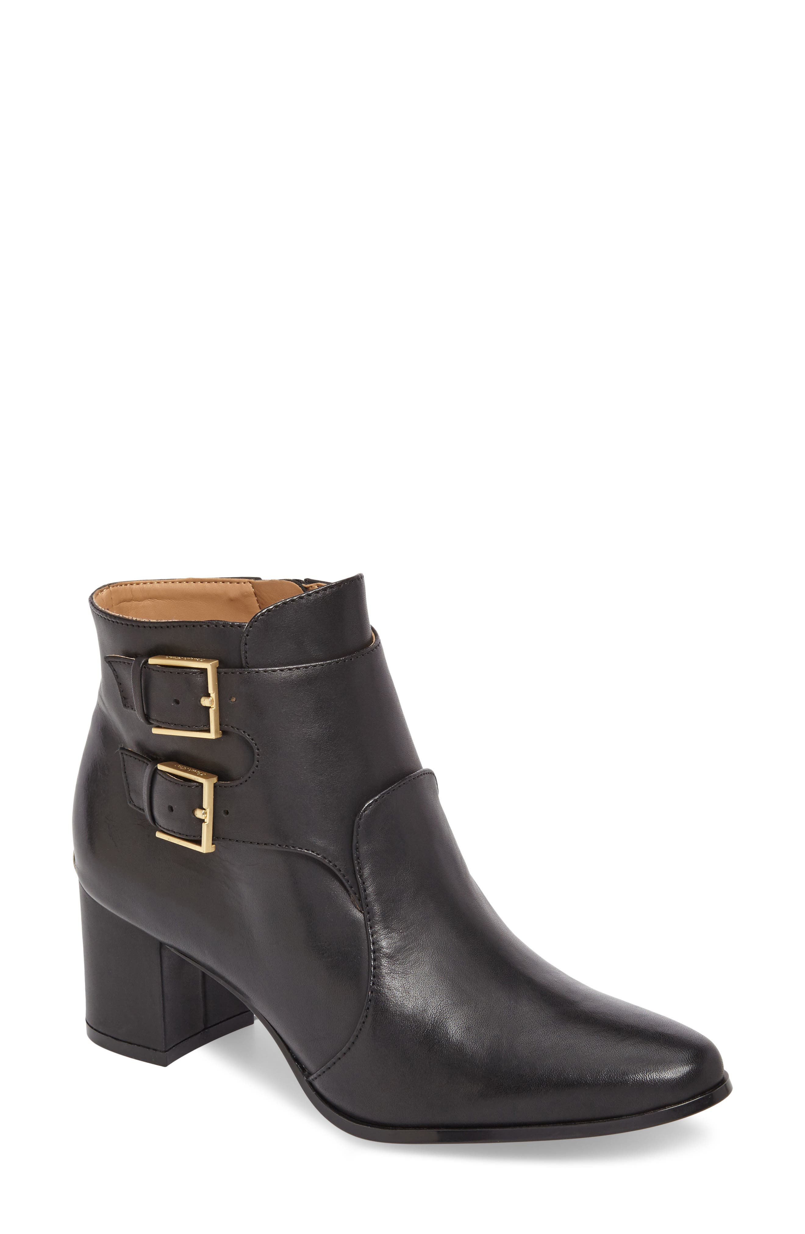 Florine Bootie,                             Main thumbnail 1, color,                             Black Leather