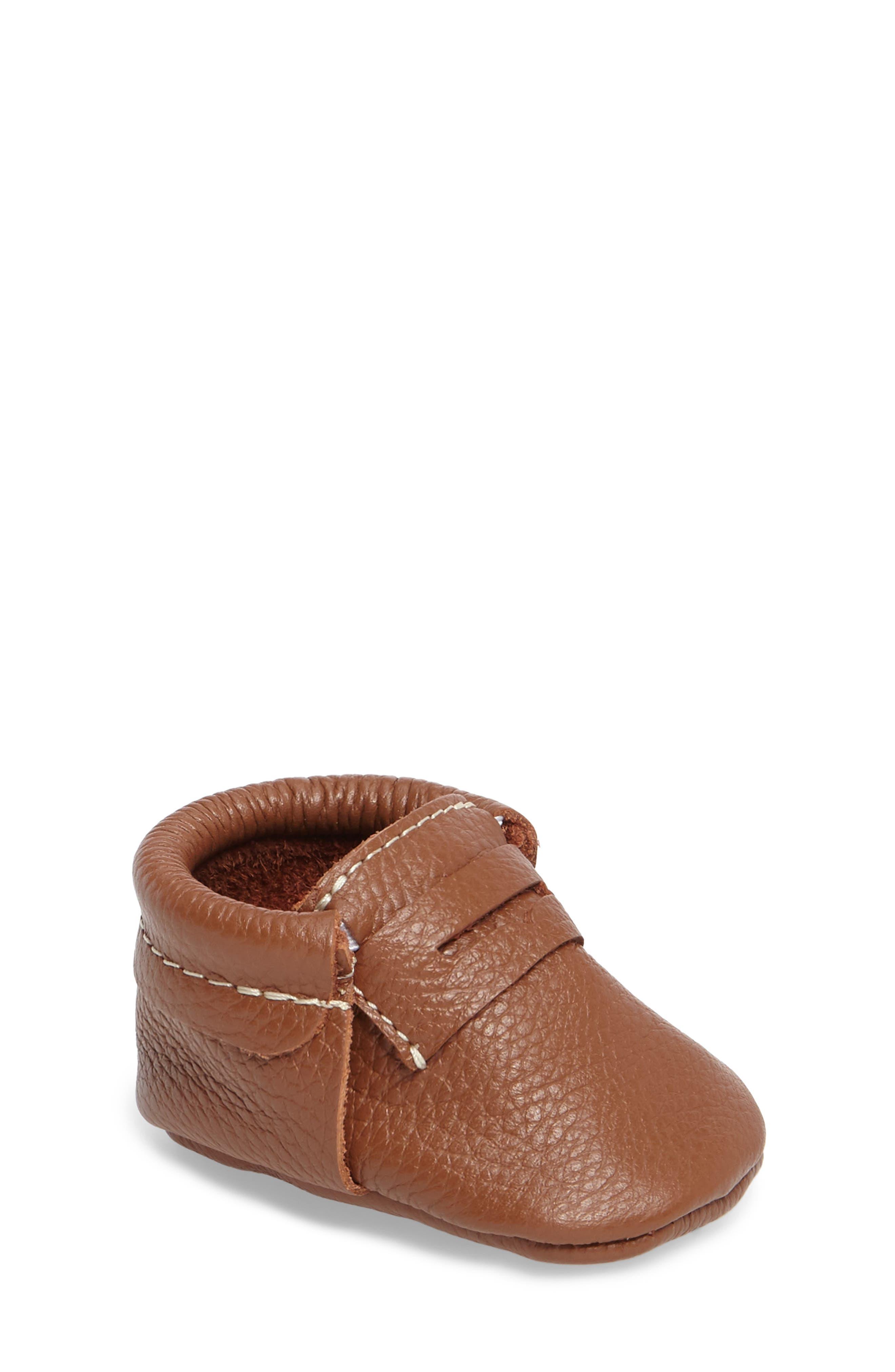 Penny Loafer Crib Shoe,                             Main thumbnail 1, color,                             Cognac