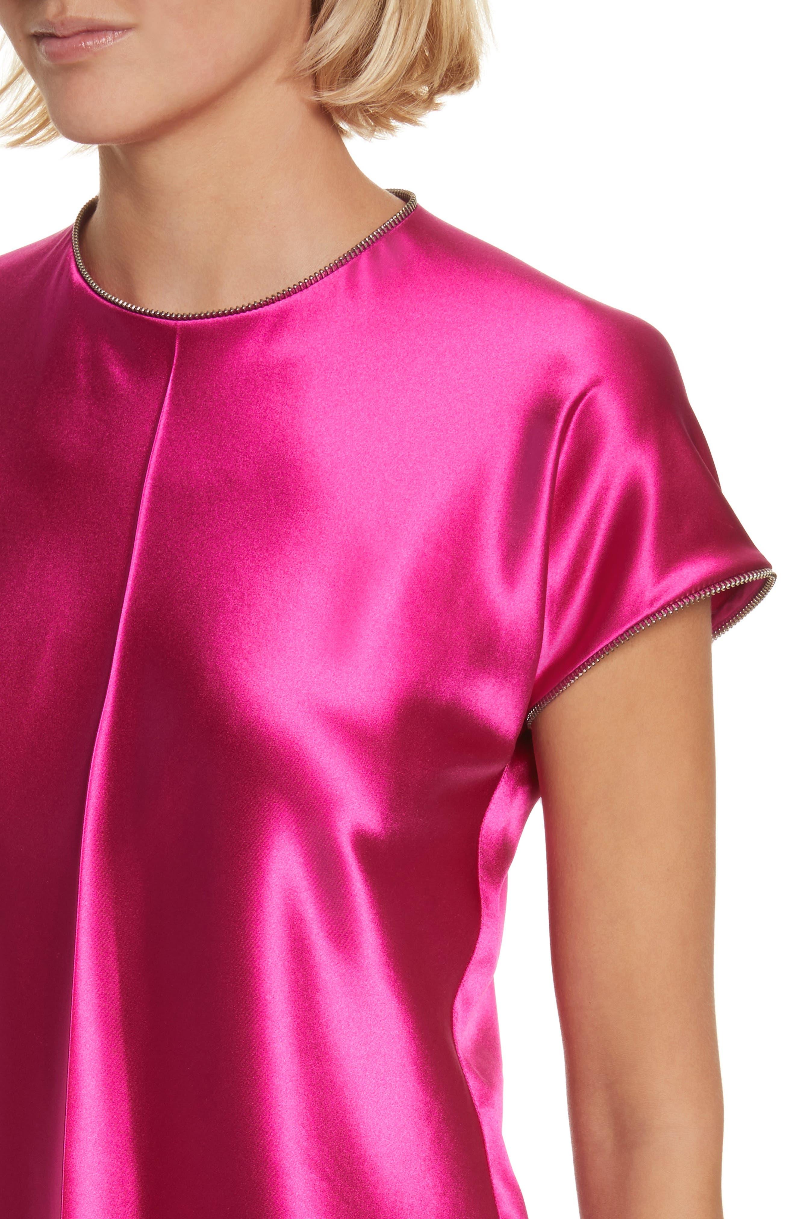 Zipper Detail Lacquered Silk Top,                             Alternate thumbnail 4, color,                             Magenta