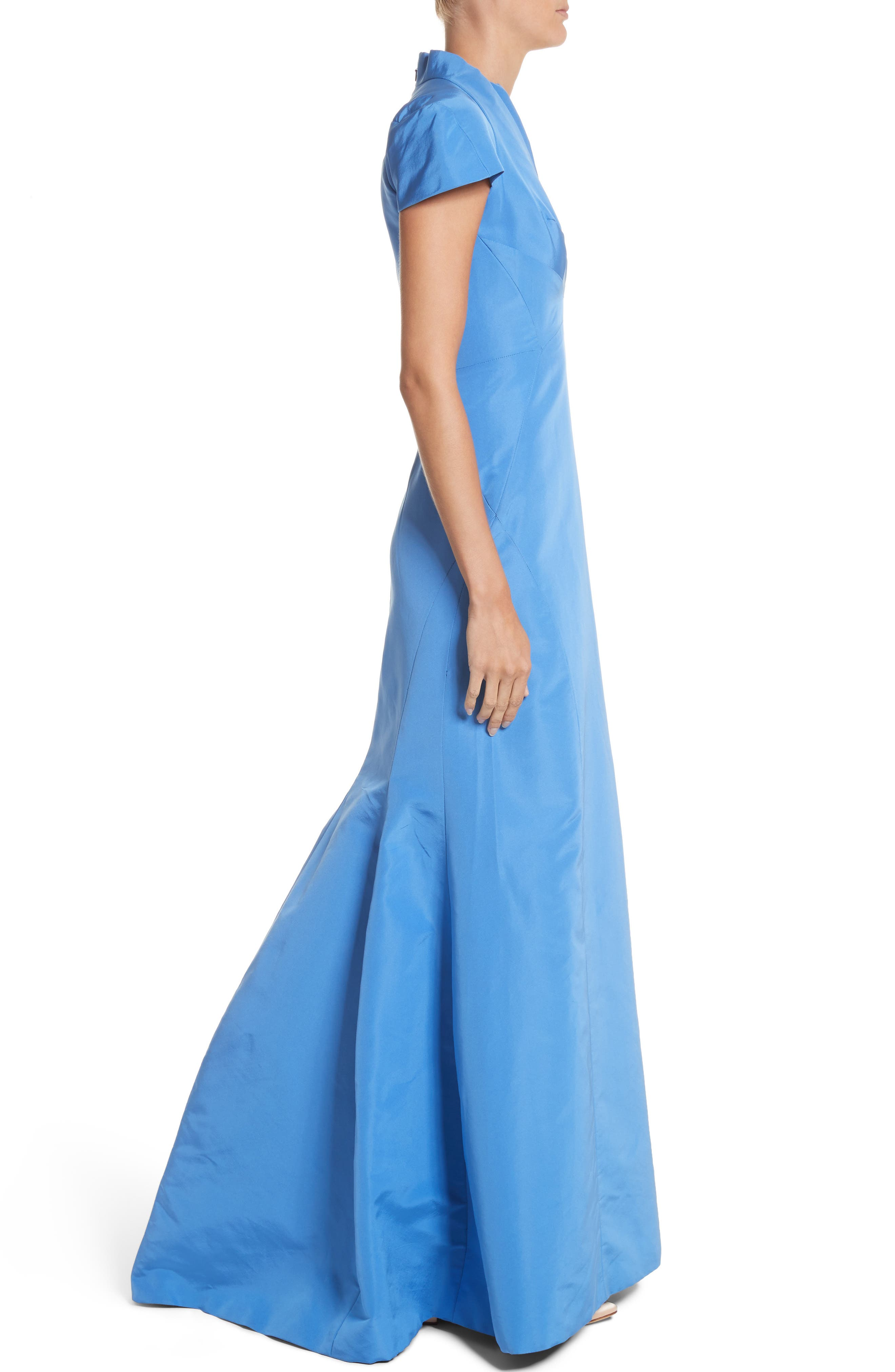 Alternate Image 3  - Zac Posen Silk Faille Short Sleeve Mermaid Gown