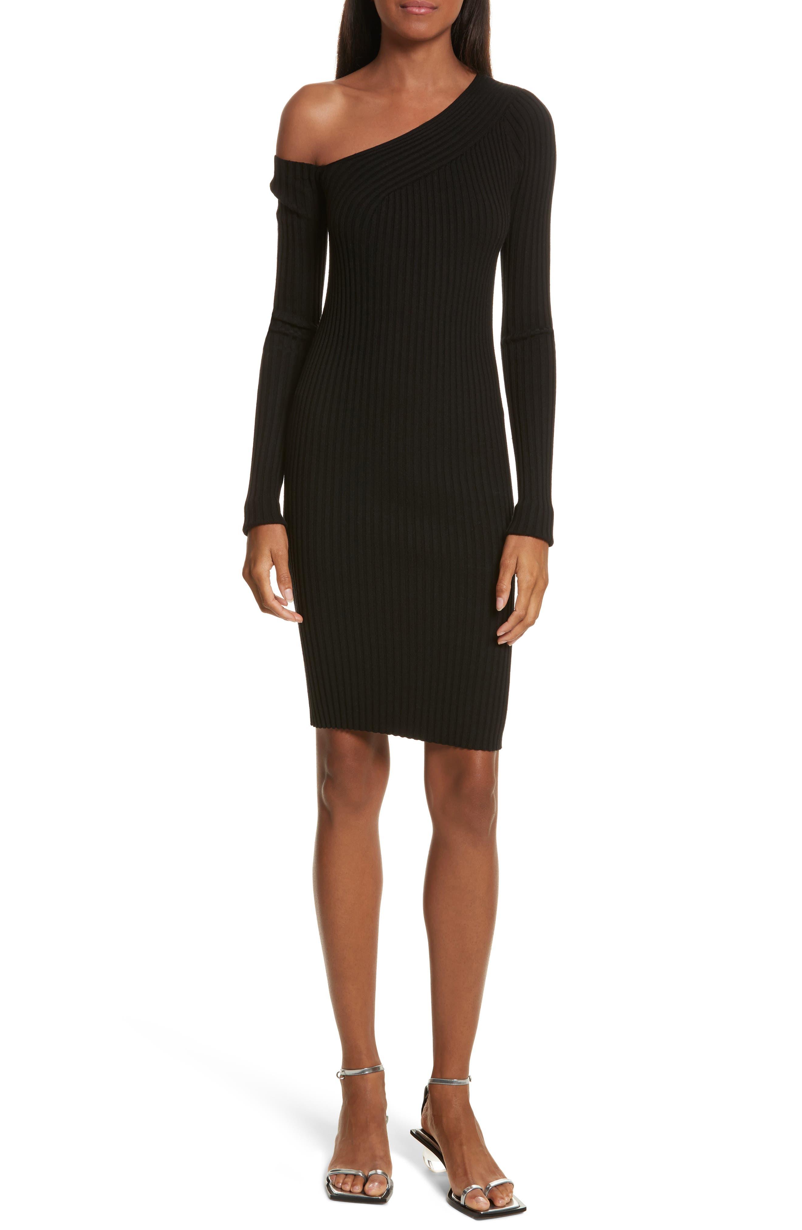 Knit Stretch Silk One-Shoulder Dress,                         Main,                         color, Black