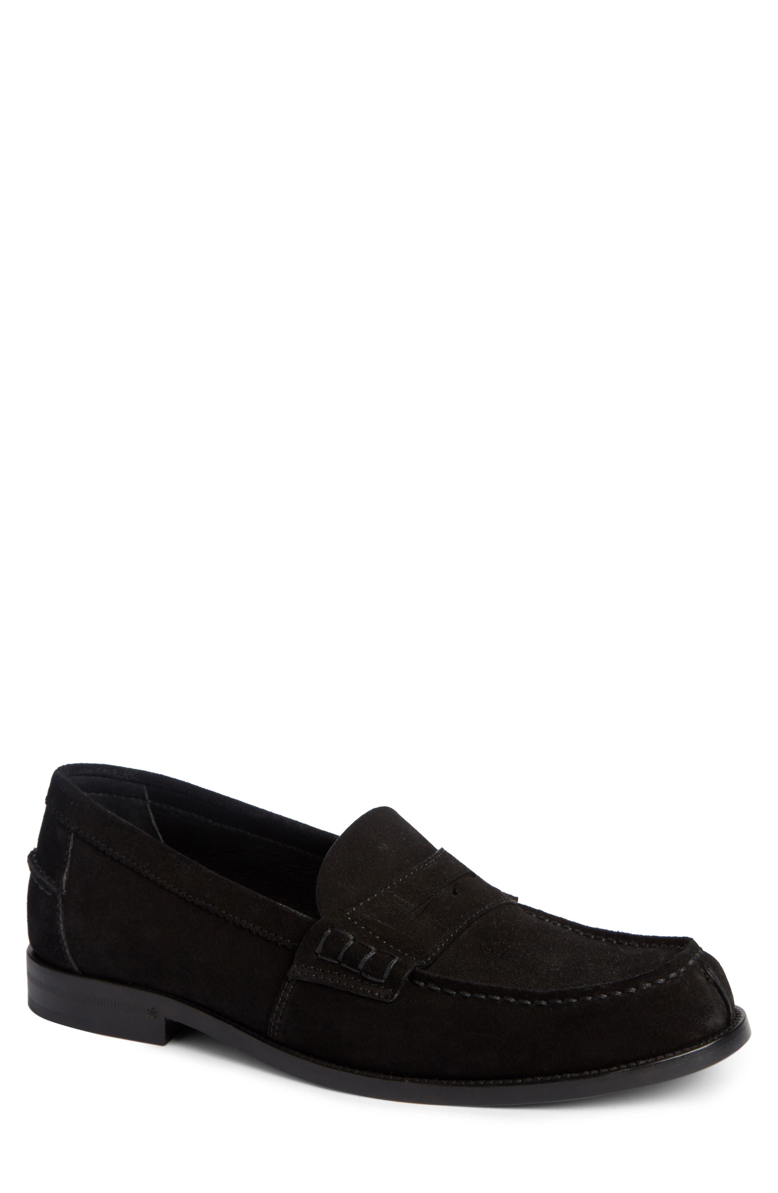 Penny Loafer,                             Main thumbnail 1, color,                             Black Suede