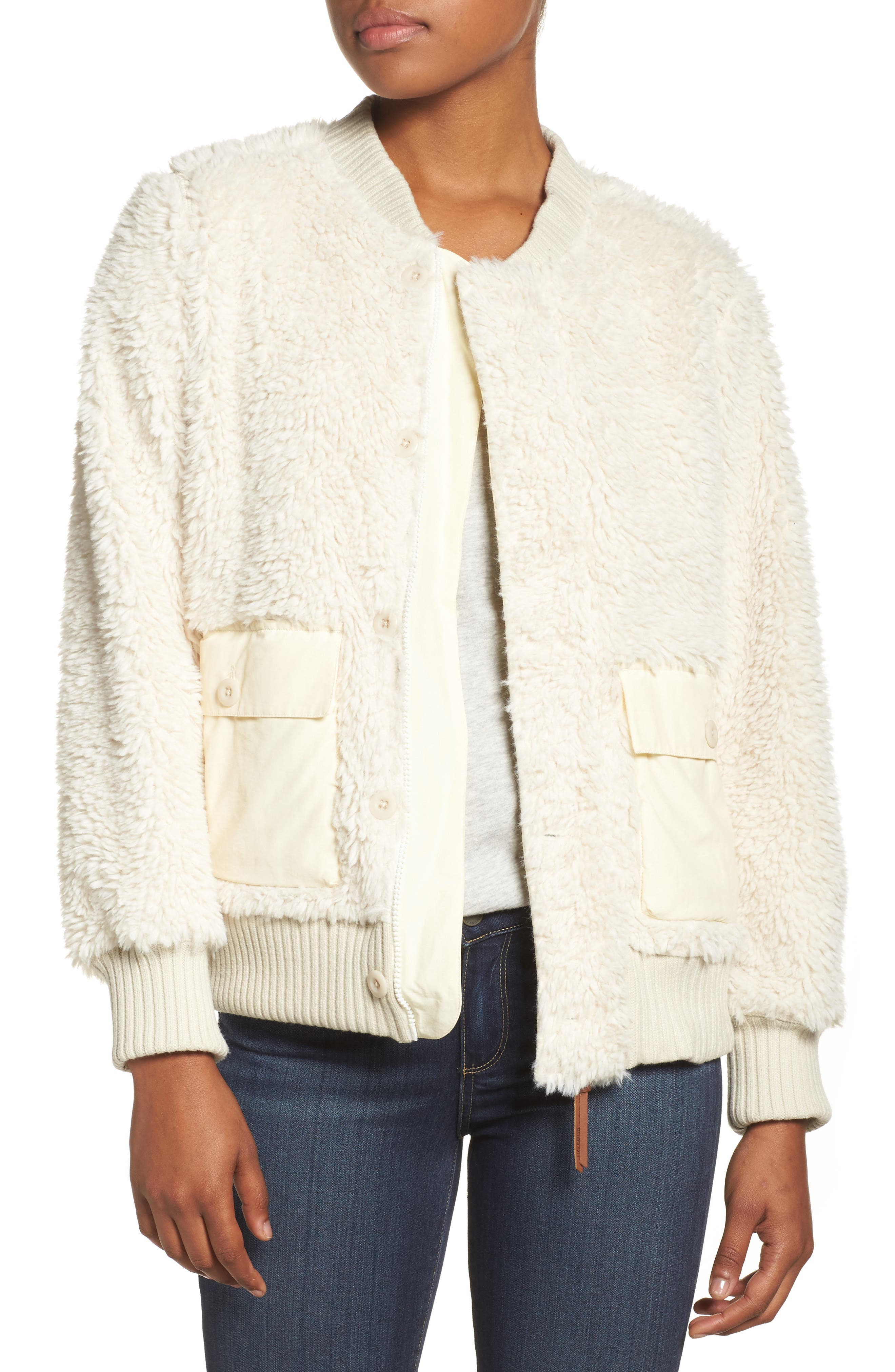 Shawmut High Pile DRYRIDE Thermex Fleece Jacket,                         Main,                         color, Bone White