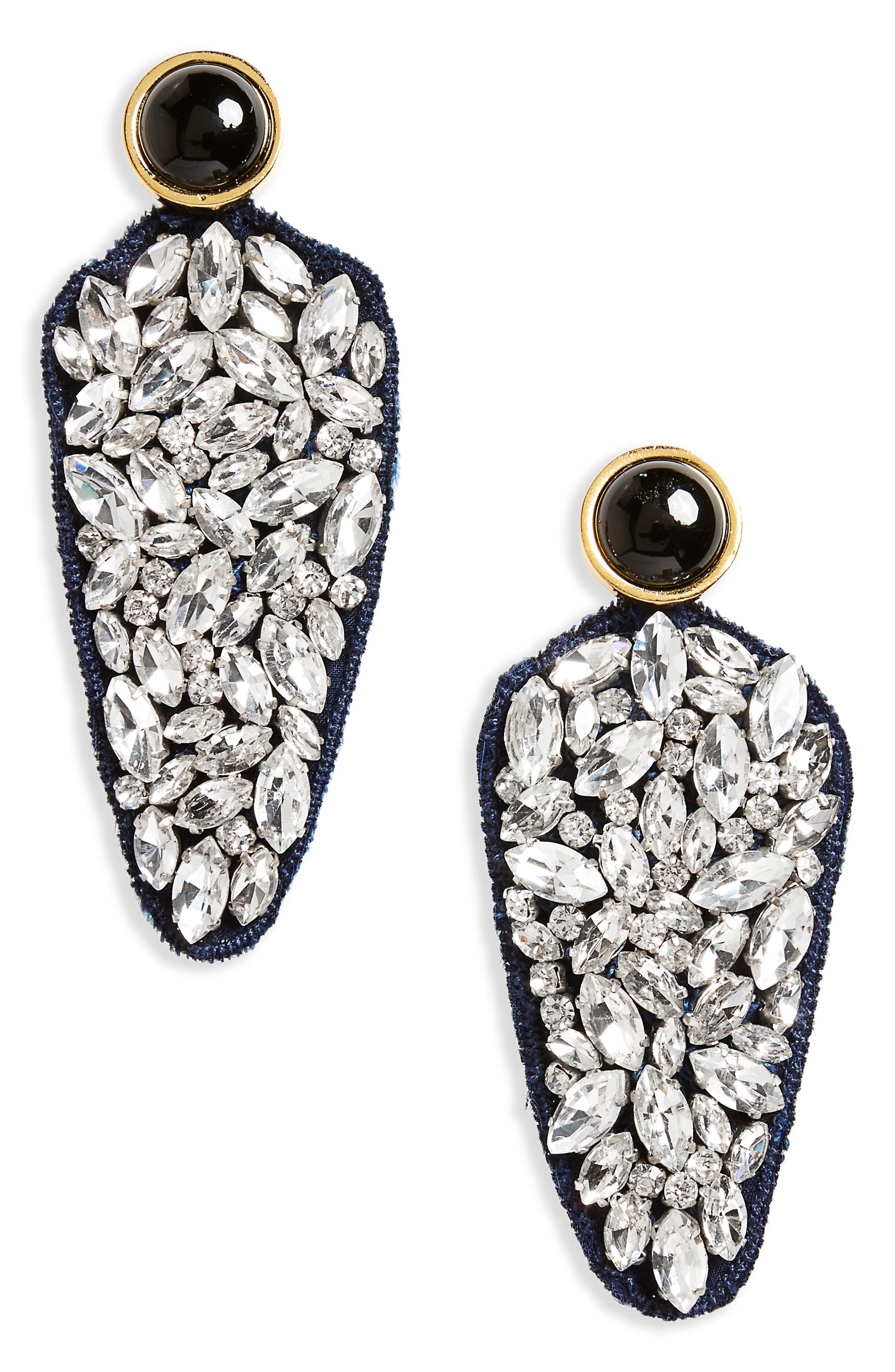 Crystal Dagger Drop Earrings,                         Main,                         color, Black