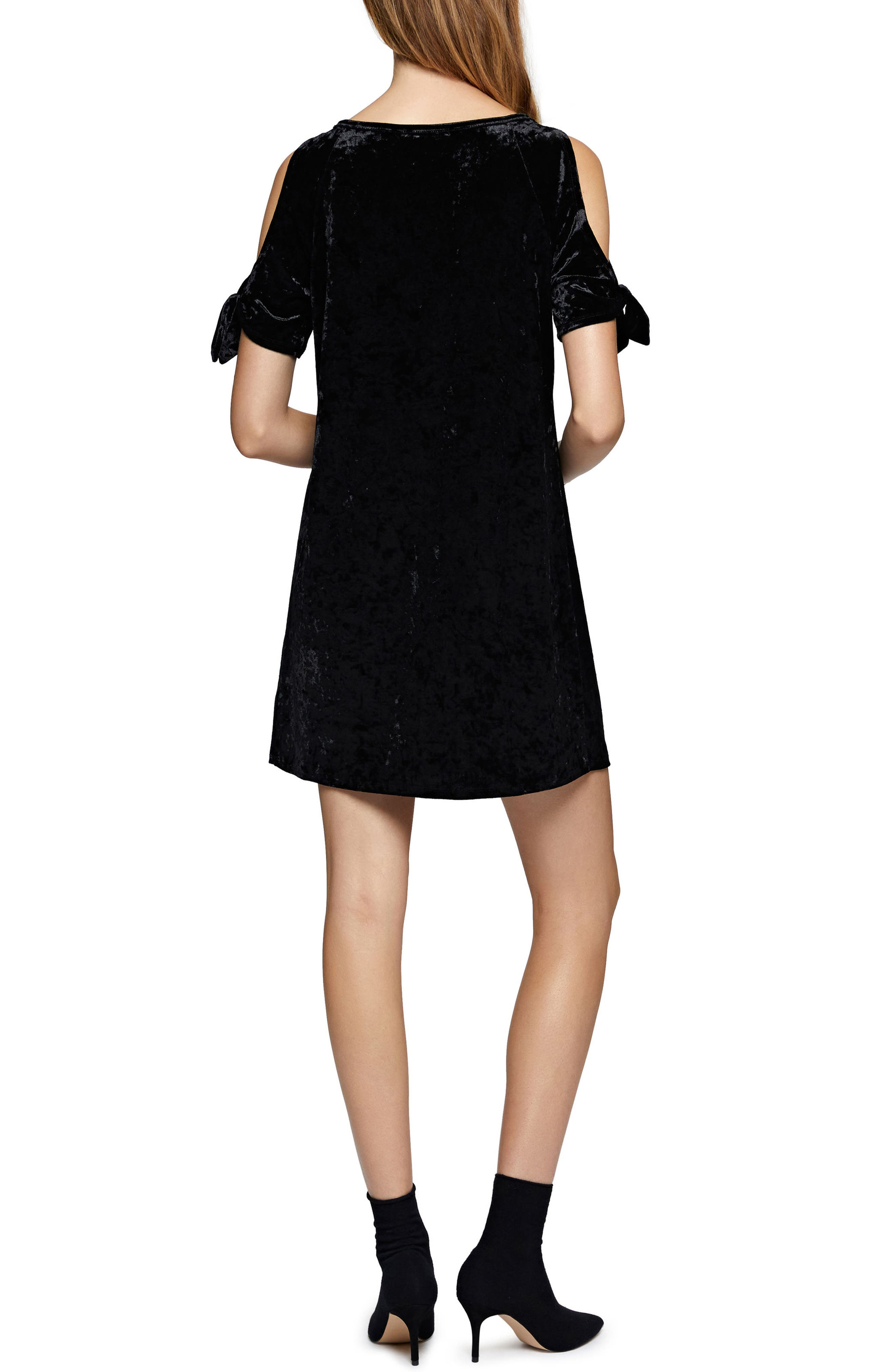 Night Slayer Cold Shoulder Velvet Dress,                             Alternate thumbnail 2, color,                             Black