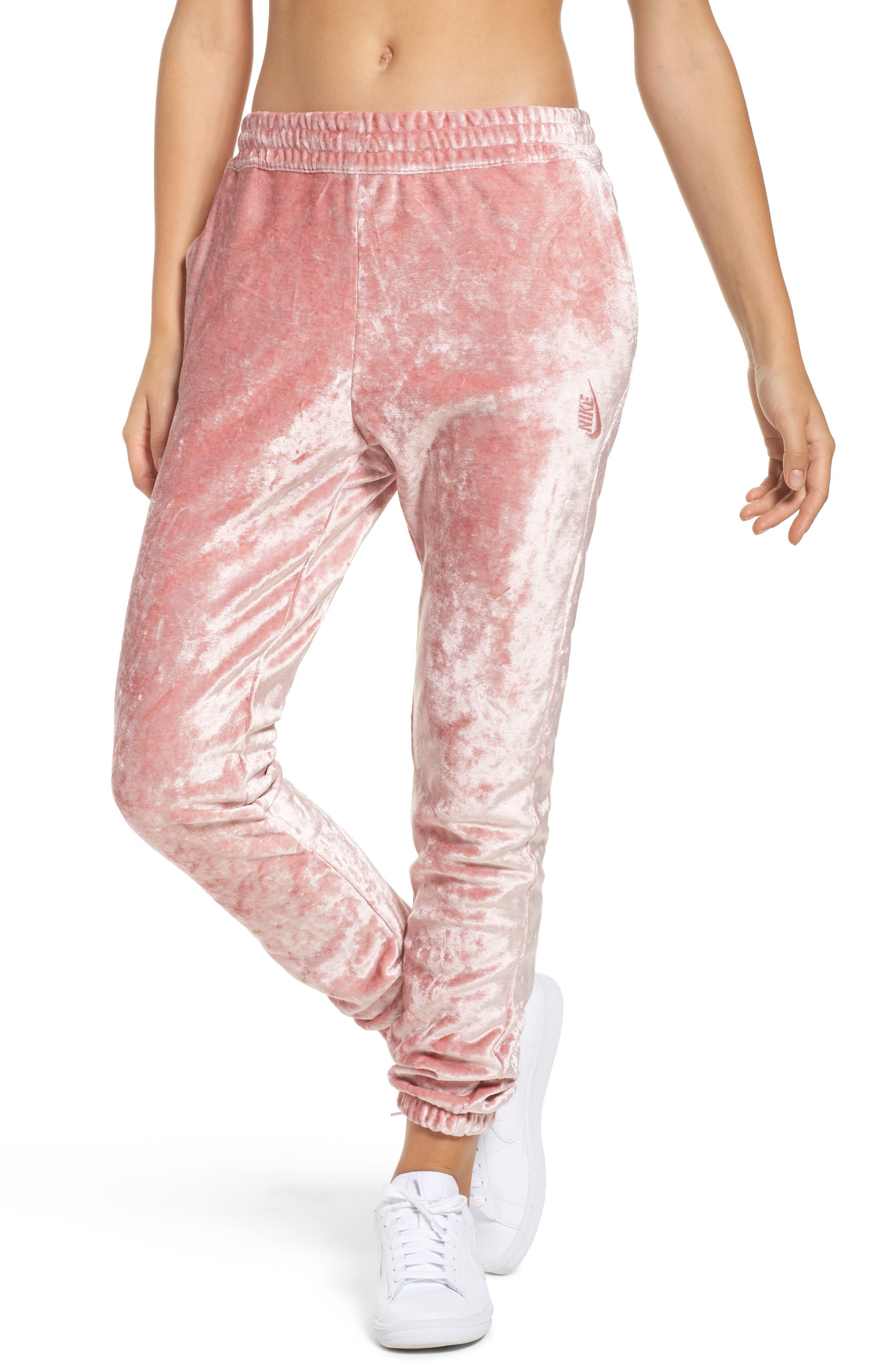 NikeLab Essentials Women's Velour Pants,                             Main thumbnail 1, color,                             Rust Pink