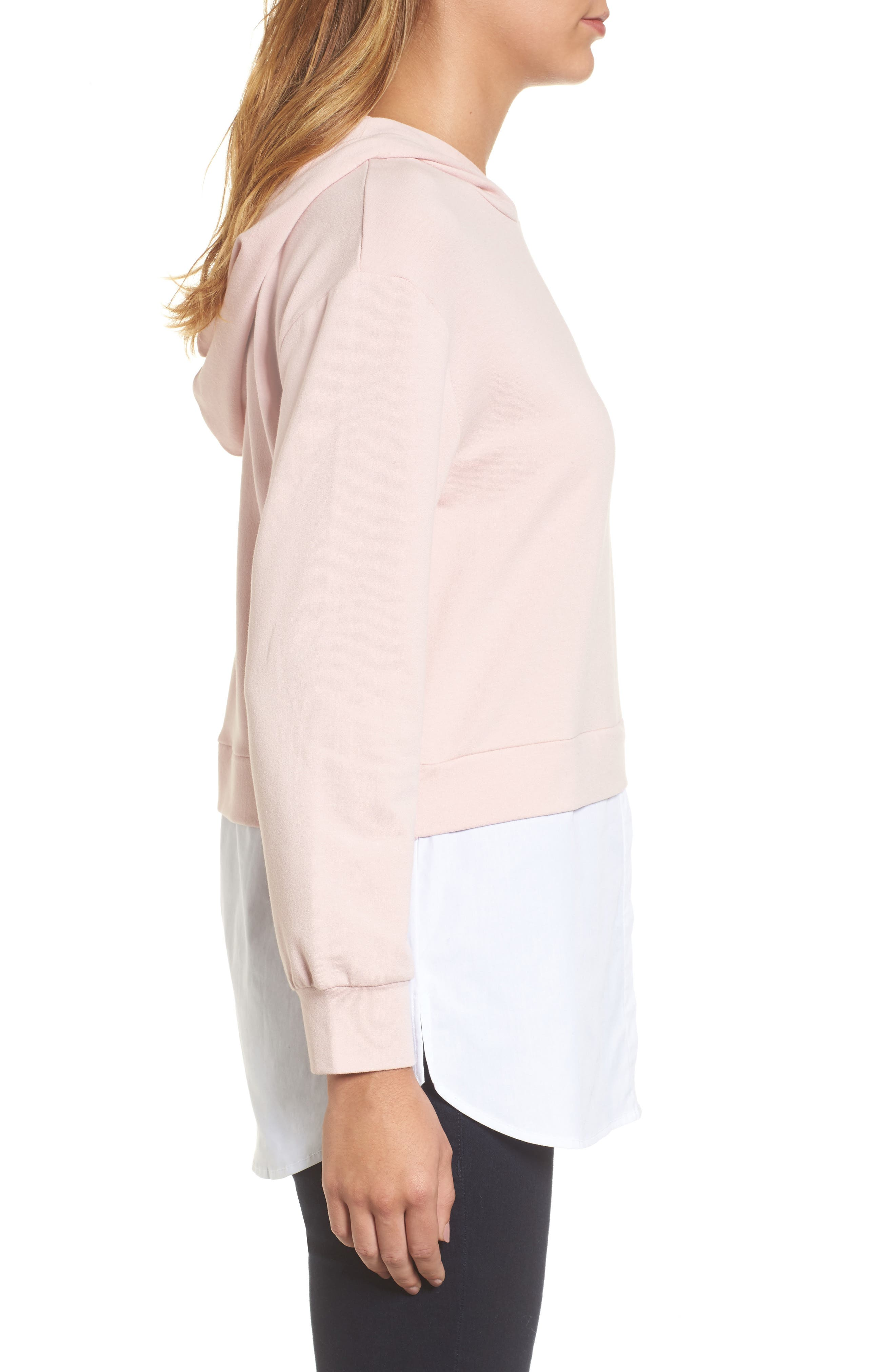 Layered Look Hoodie,                             Alternate thumbnail 3, color,                             Dusty Pink