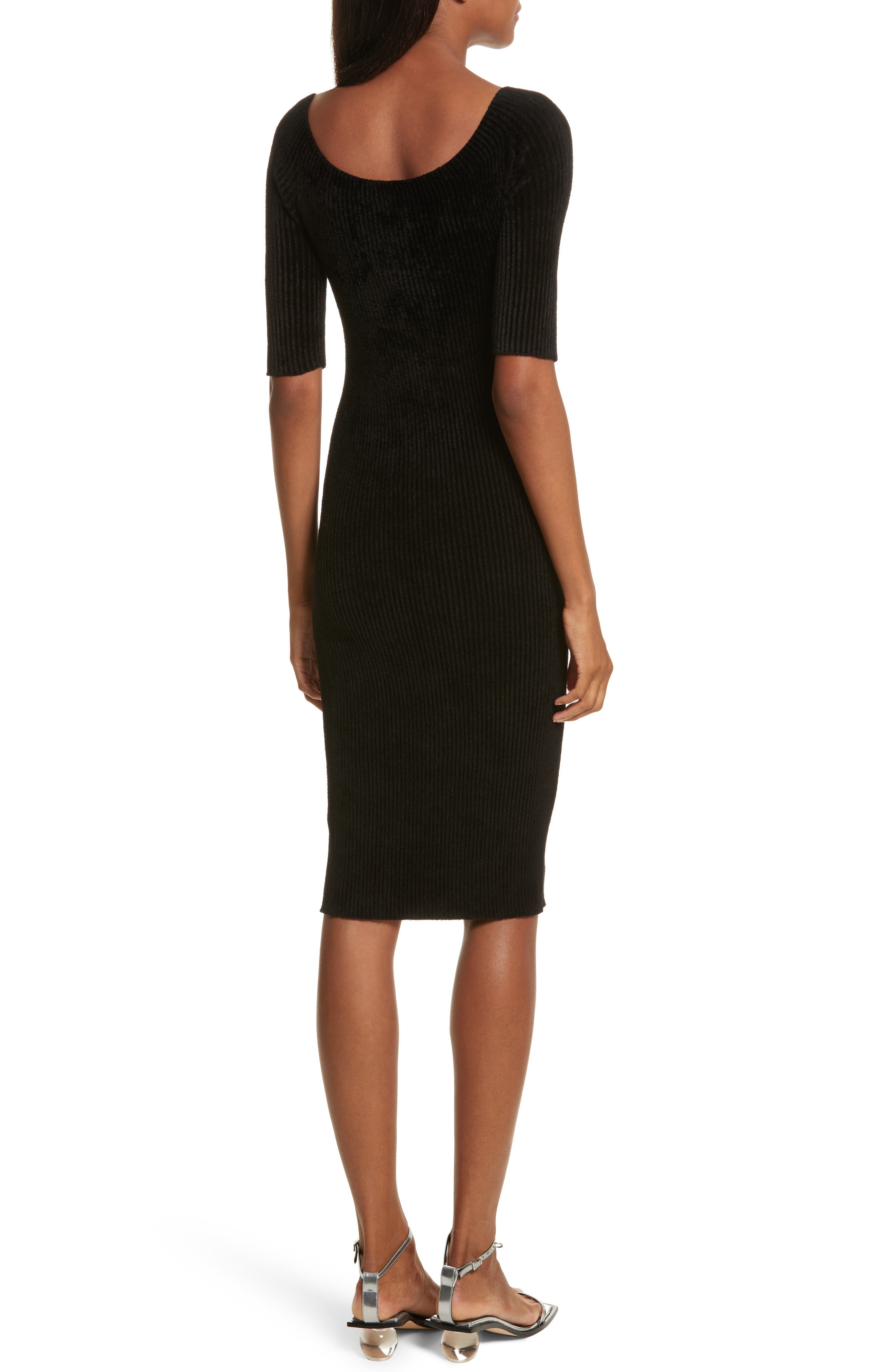 Alternate Image 2  - Helmut Lang Ribbed Velveteen Body-Con Dress