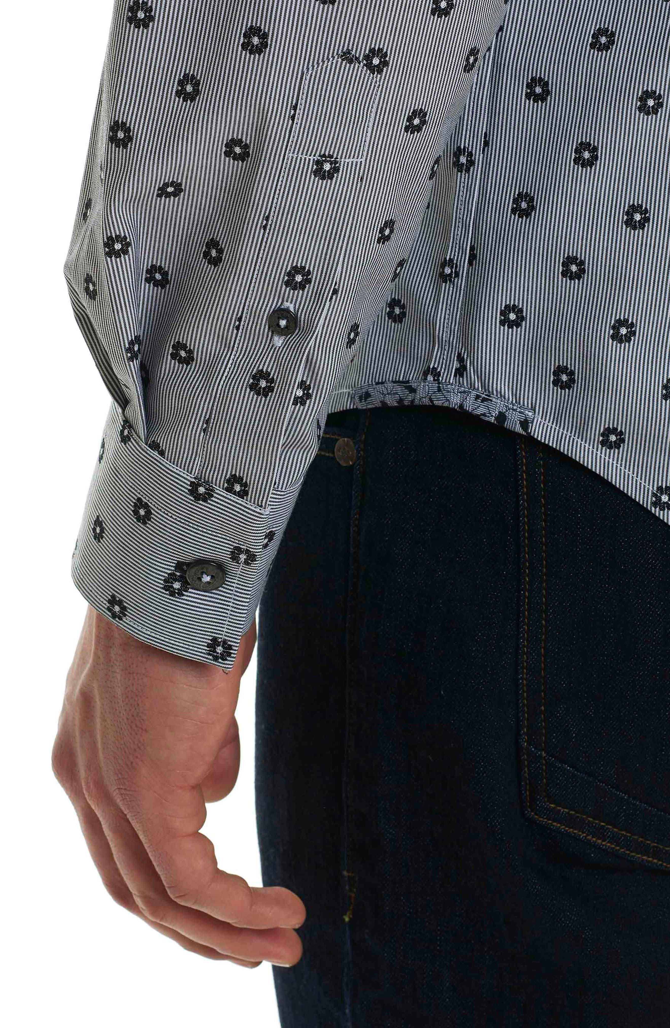 Ned Slim Fit Floral Stripe Sport Shirt,                             Alternate thumbnail 5, color,                             Black