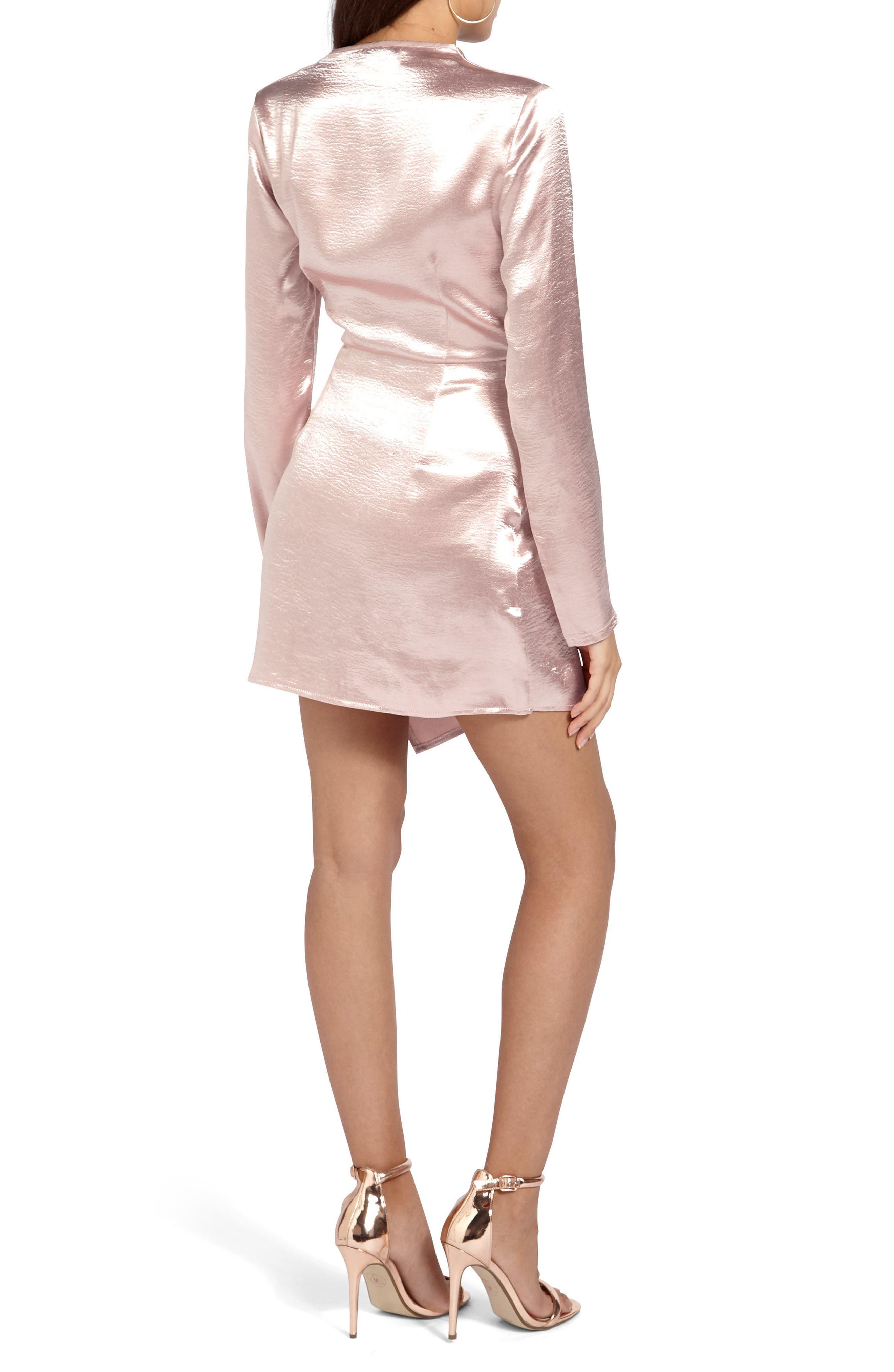 Satin Wrap Minidress,                             Alternate thumbnail 2, color,                             Pink