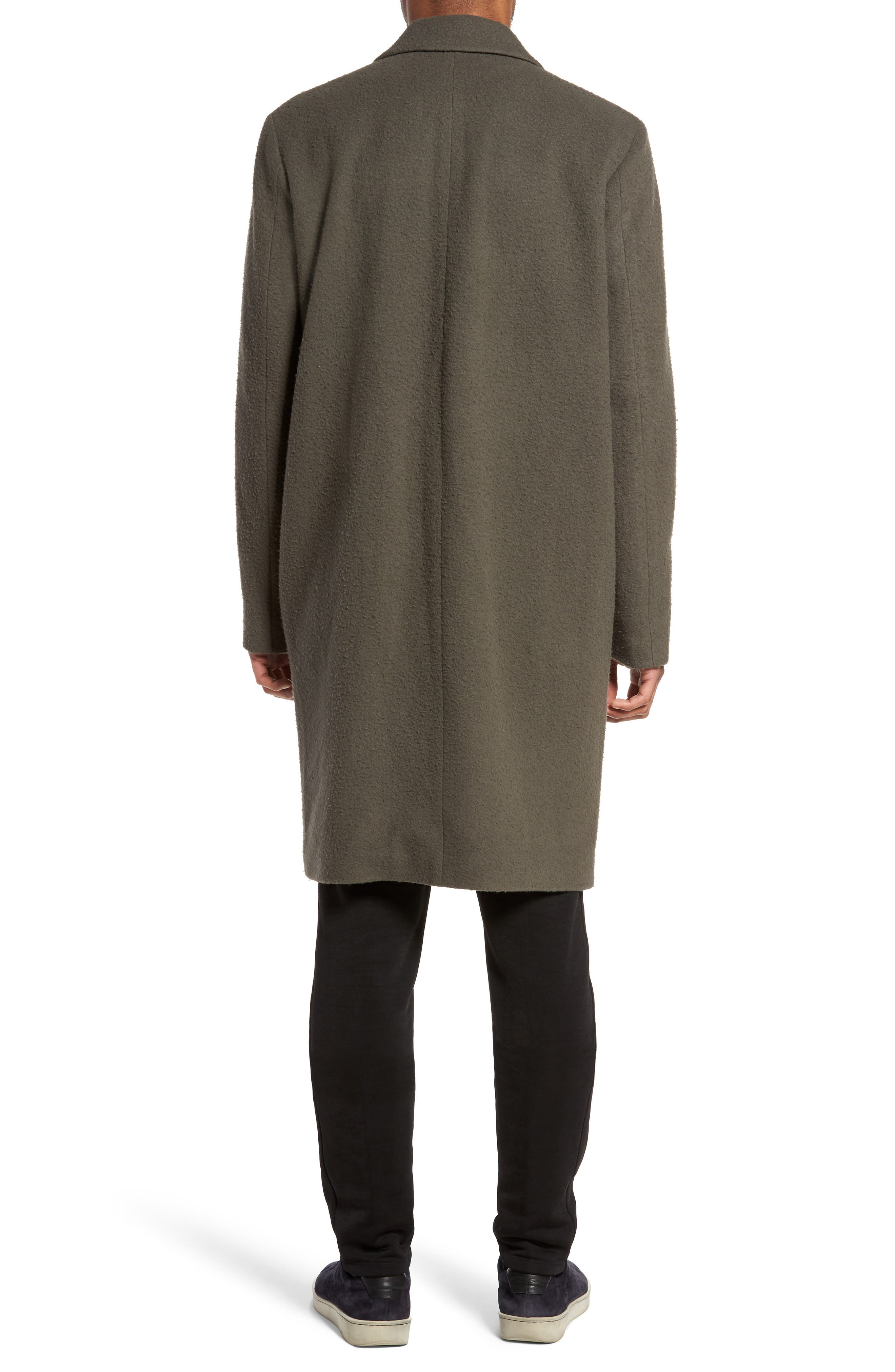 Distressed Wool Blend Car Coat,                             Alternate thumbnail 2, color,                             Olive