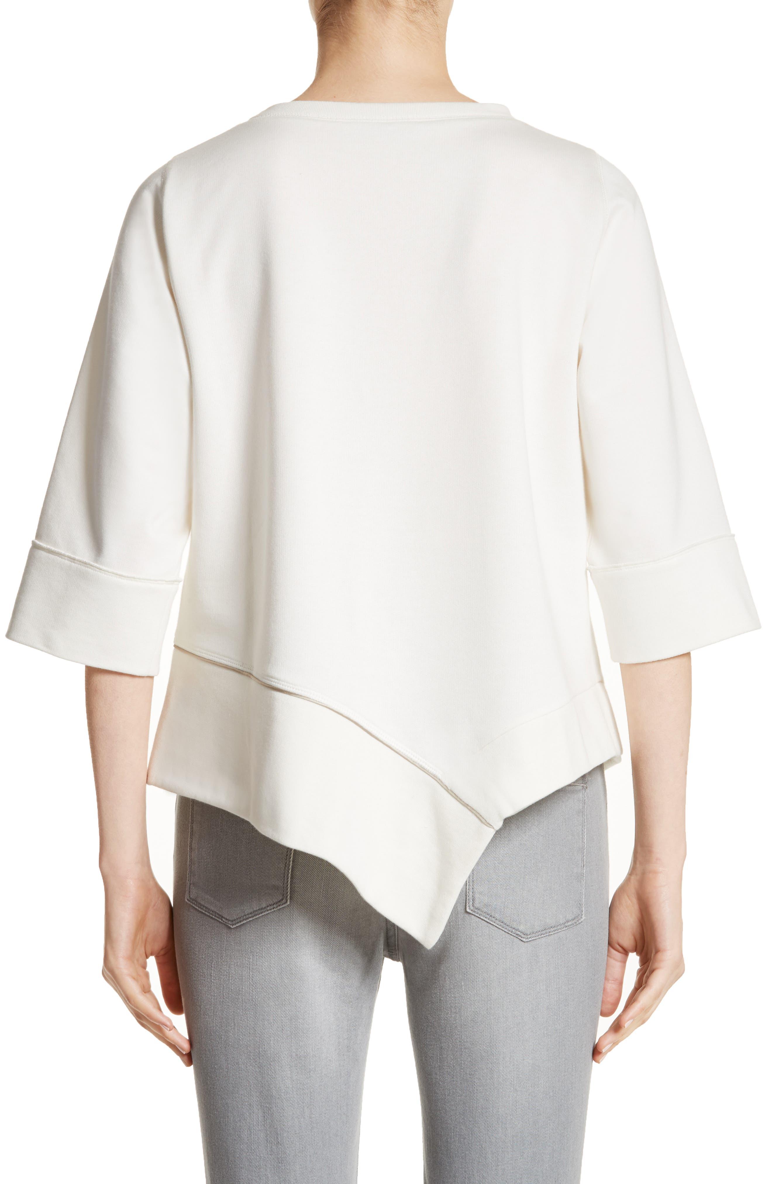 Asymmetrical Cotton Sweatshirt,                             Alternate thumbnail 2, color,                             Ivory
