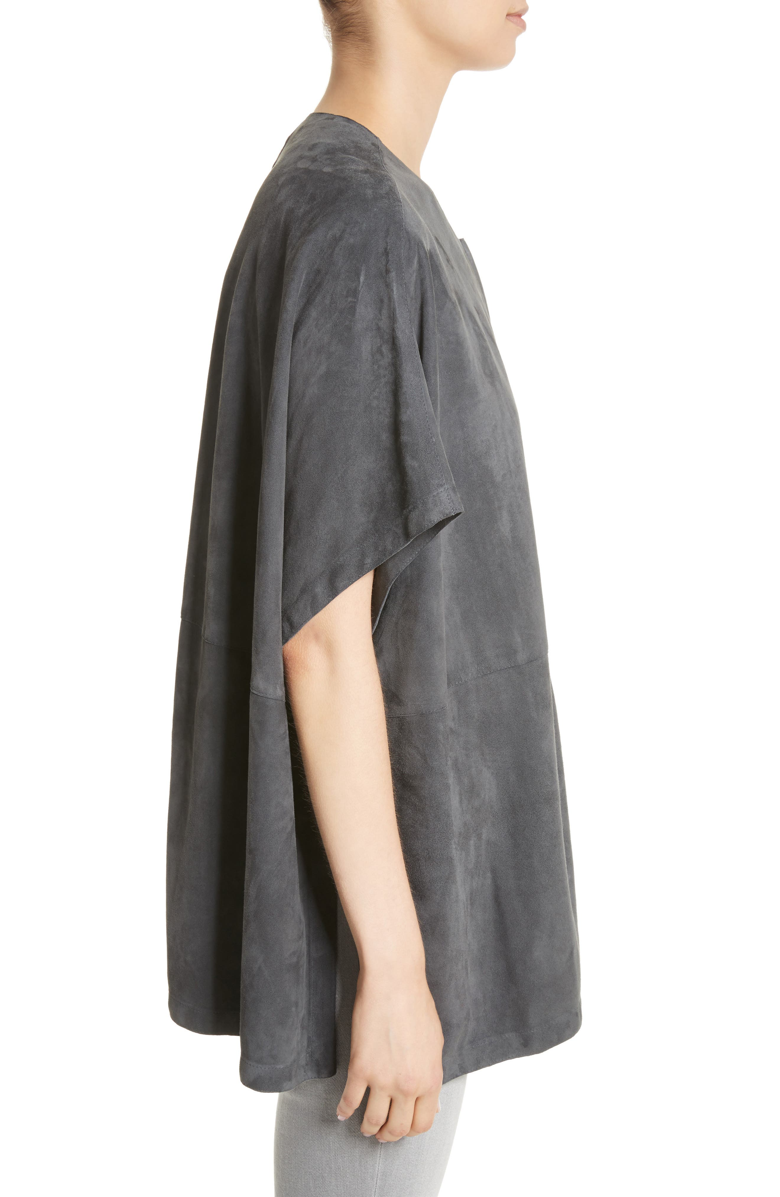 Beaded Suede Poncho,                             Alternate thumbnail 4, color,                             Slate