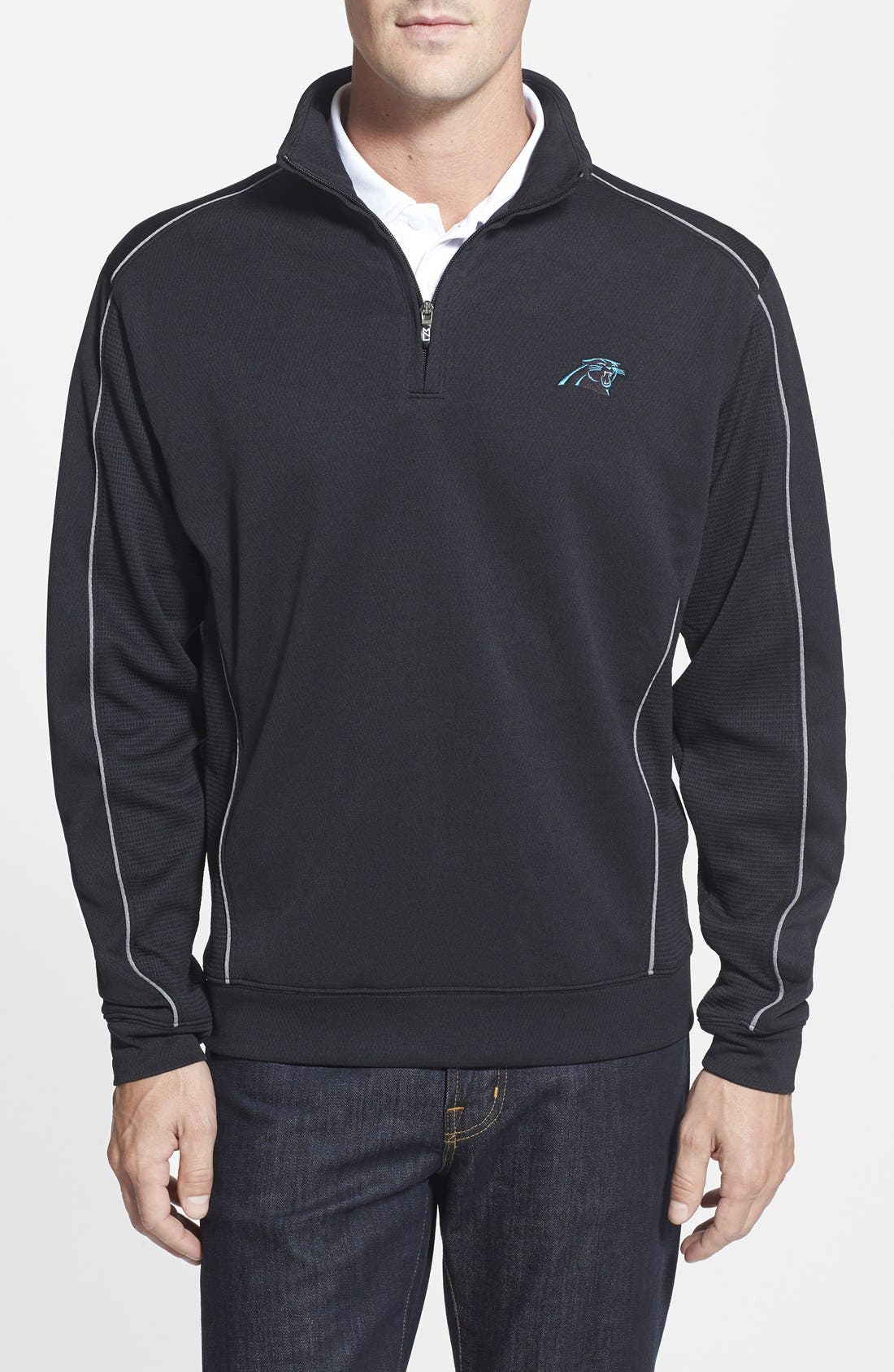 Cutter & Buck Carolina Panthers - Edge DryTec Moisture Wicking Half Zip Pullover