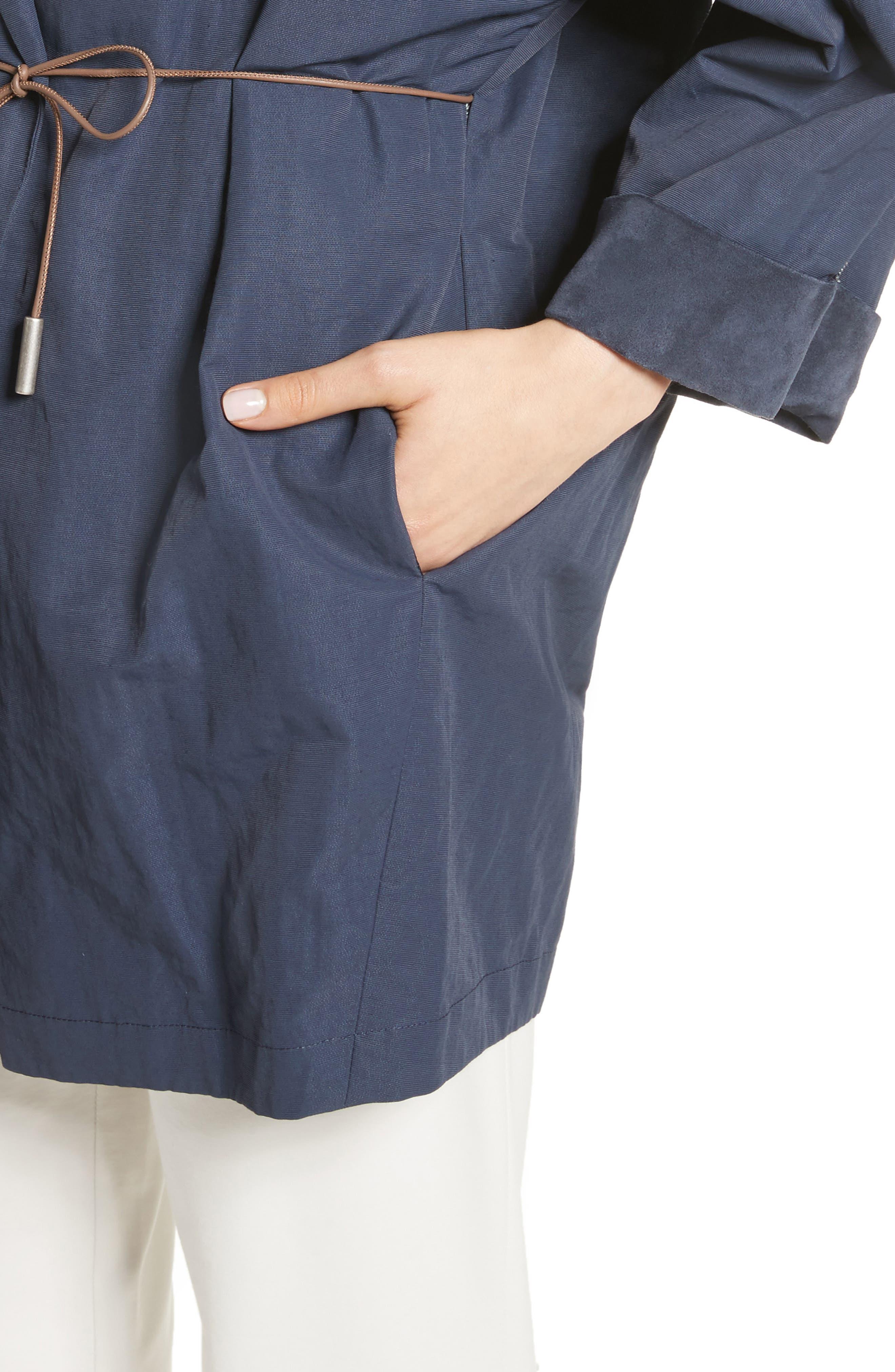 Suede & Cotton Blend Kimono Jacket,                             Alternate thumbnail 3, color,                             Navy
