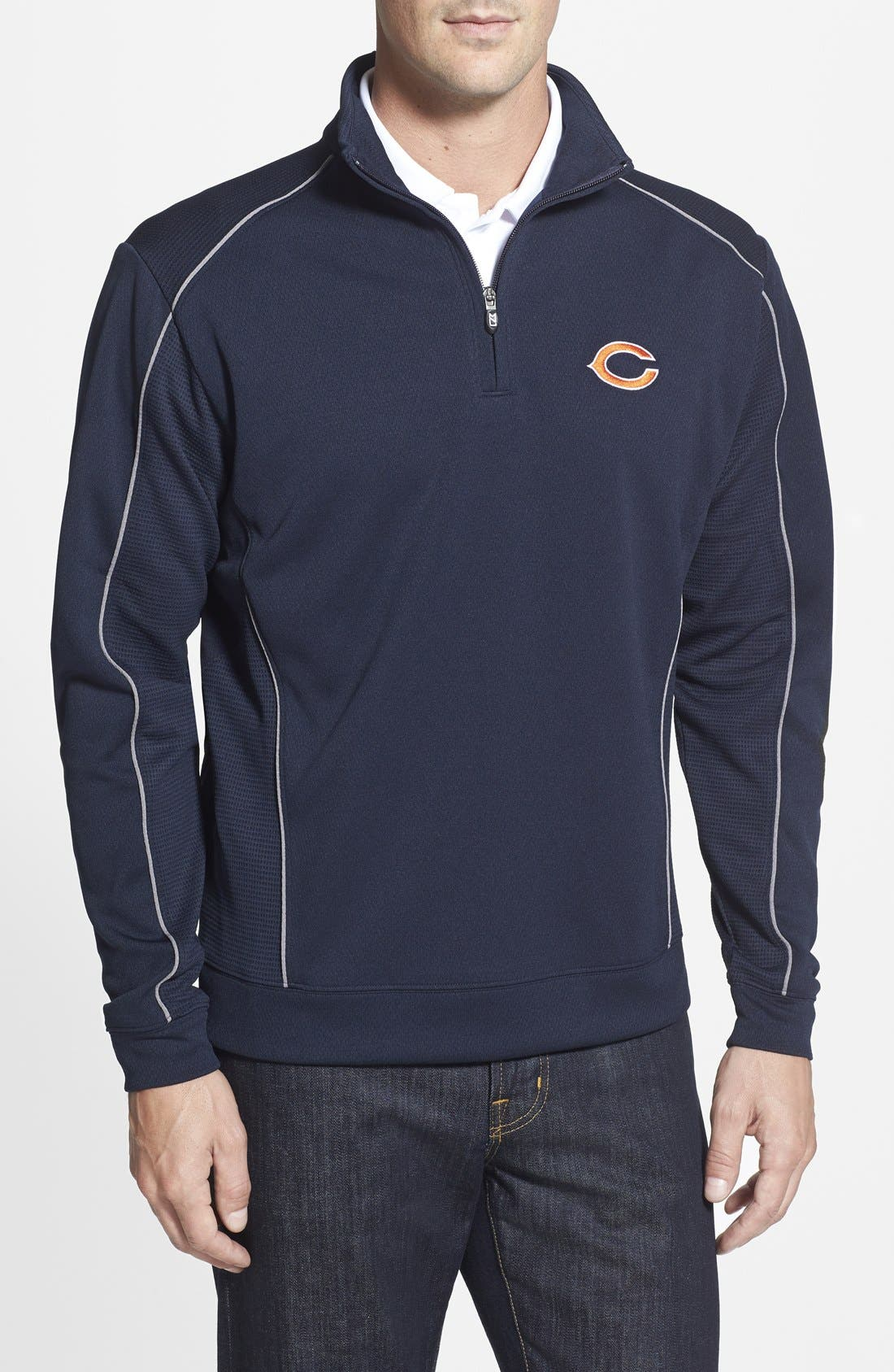 Chicago Bears - Edge DryTec Moisture Wicking Half Zip Pullover,                         Main,                         color, Navy Blue