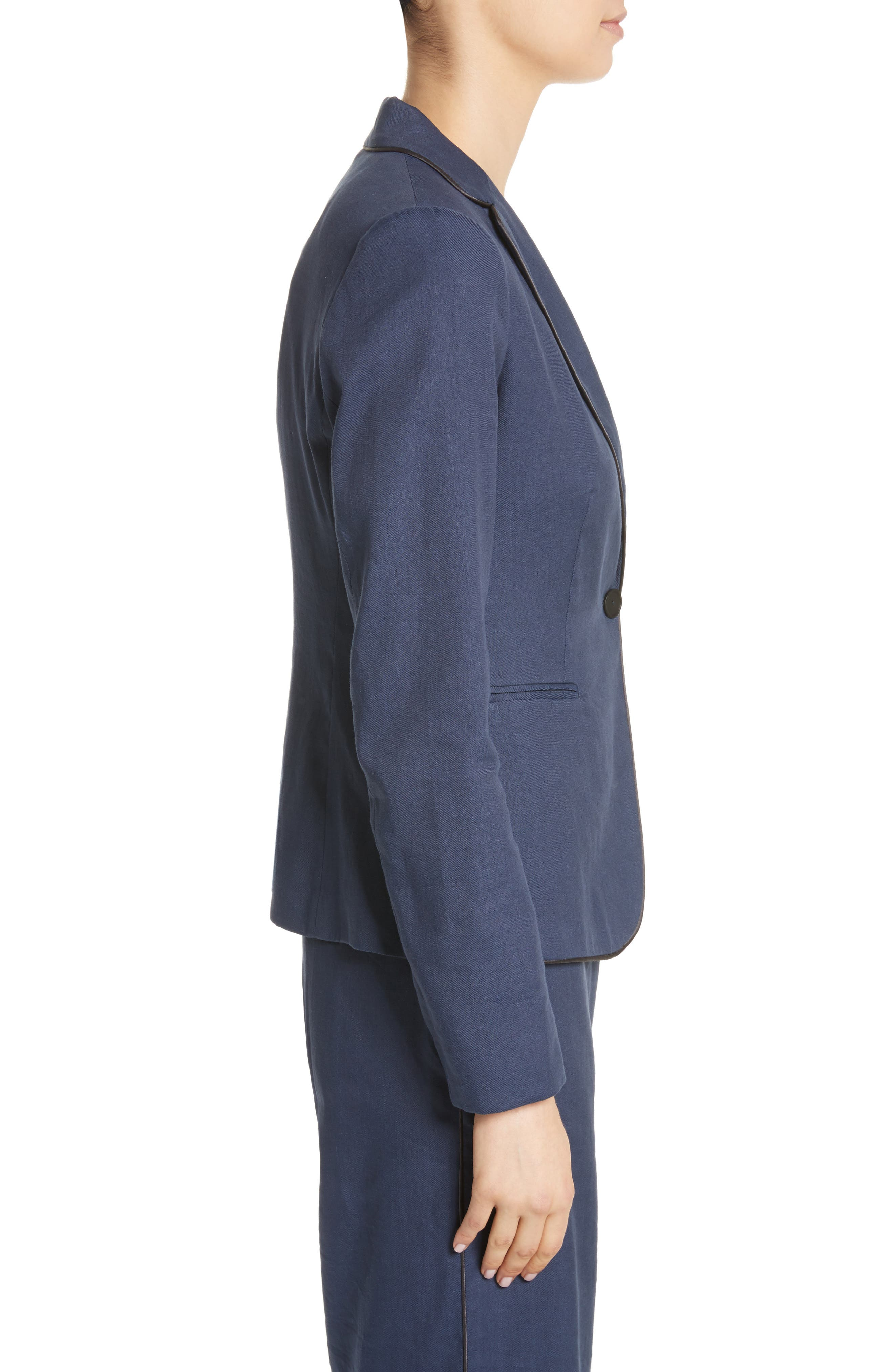 Piped Linen & Cotton Blend Blazer,                             Alternate thumbnail 3, color,                             Navy