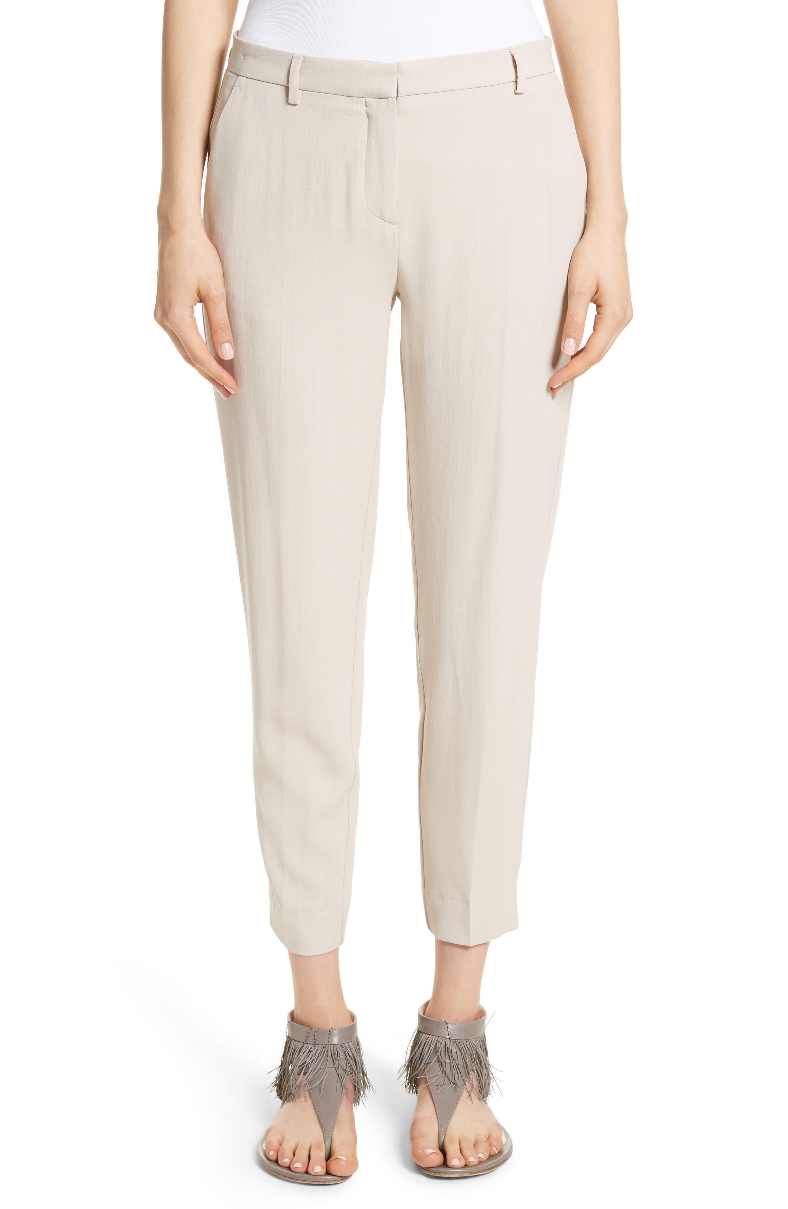Wool Blend Ankle Pants,                         Main,                         color, Ecru