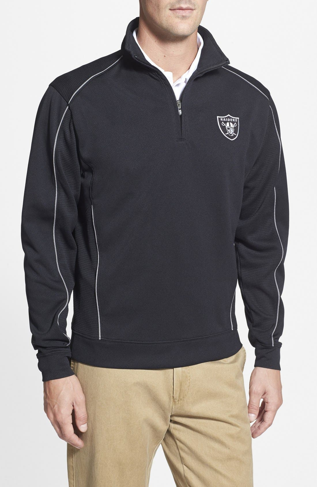 Oakland Raiders - Edge DryTec Moisture Wicking Half Zip Pullover,                             Main thumbnail 1, color,                             Black