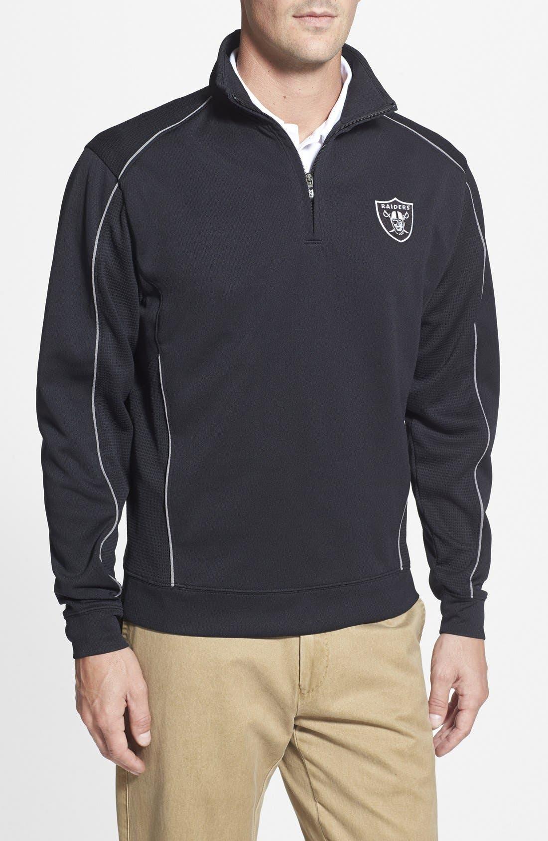 Oakland Raiders - Edge DryTec Moisture Wicking Half Zip Pullover,                         Main,                         color, Black