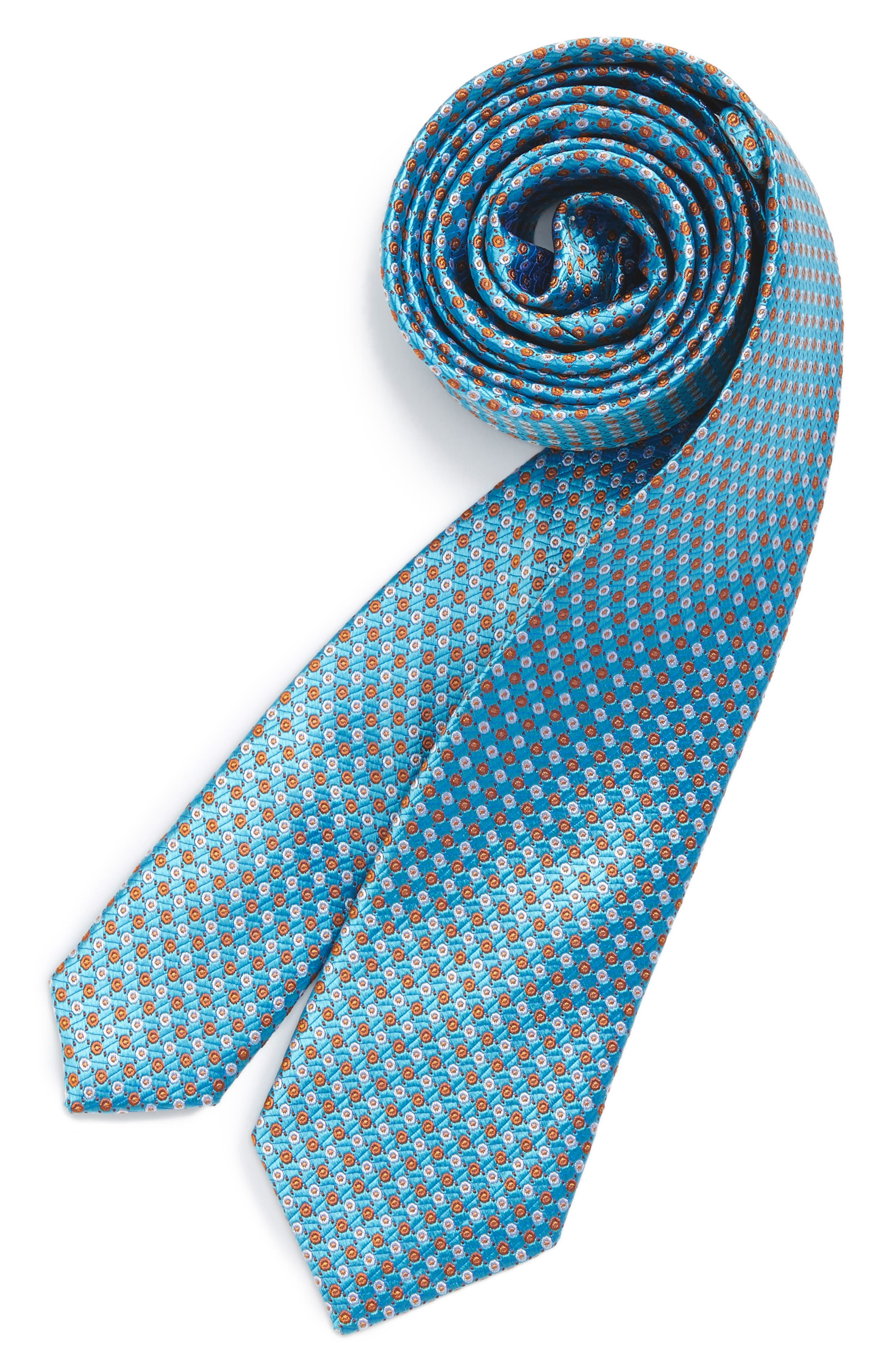 Dot Grid Silk Tie,                             Main thumbnail 1, color,                             Aqua/Rust