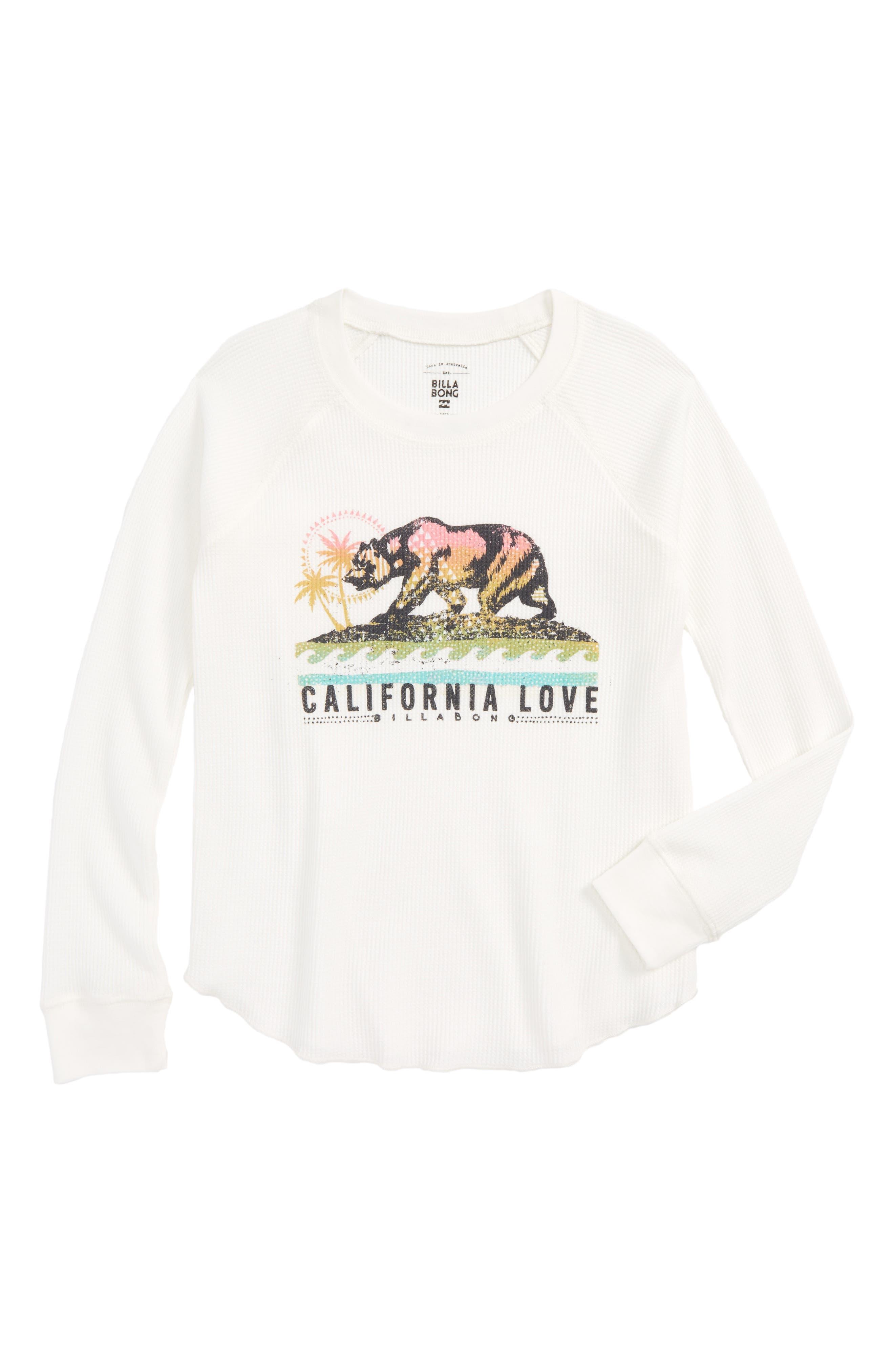 Main Image - Billabong Cali Bear Thermal Tee (Little Girls & Big Girls)