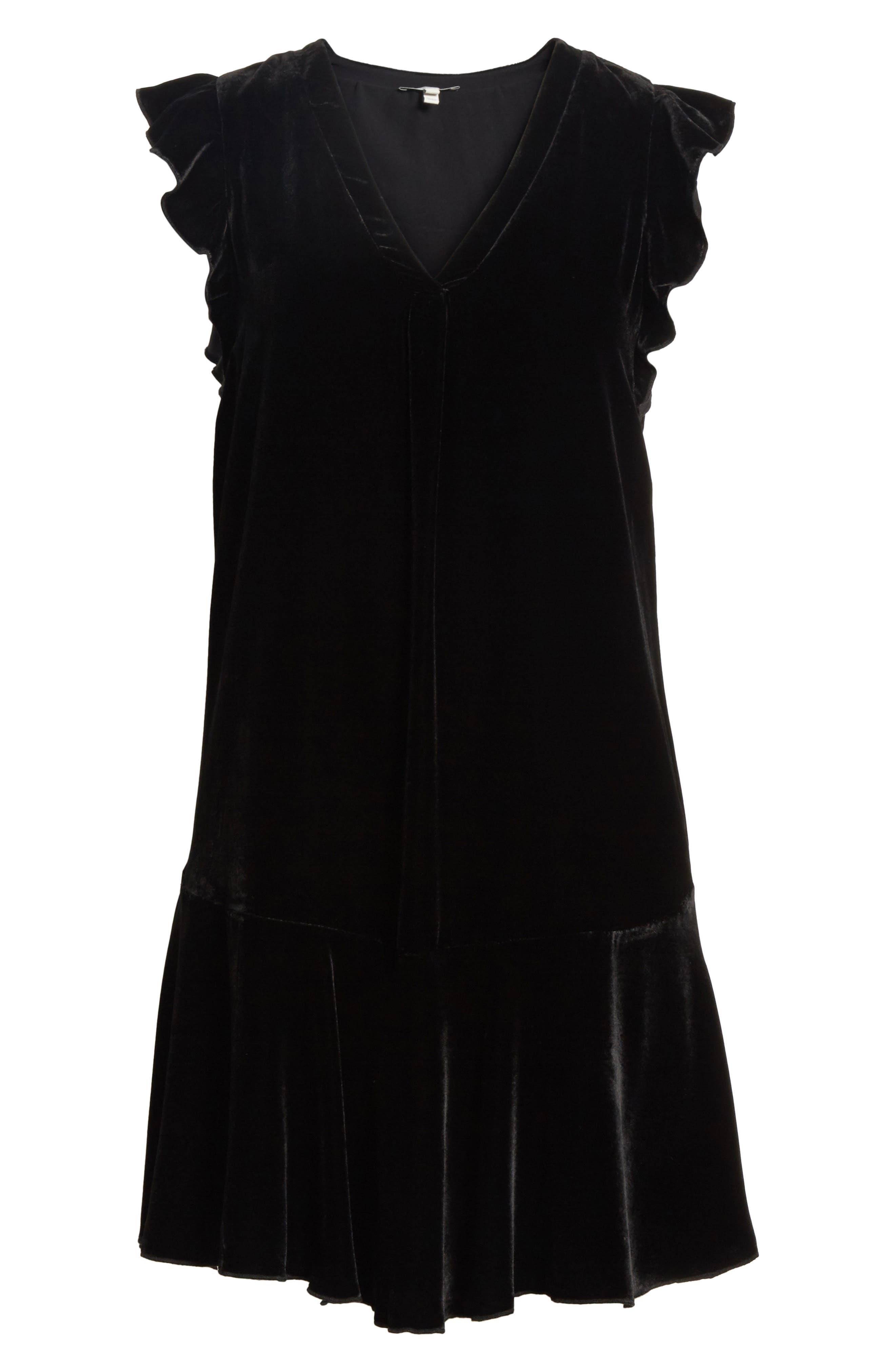 Almarie Velvet Shift Dress,                             Alternate thumbnail 6, color,                             Caviar