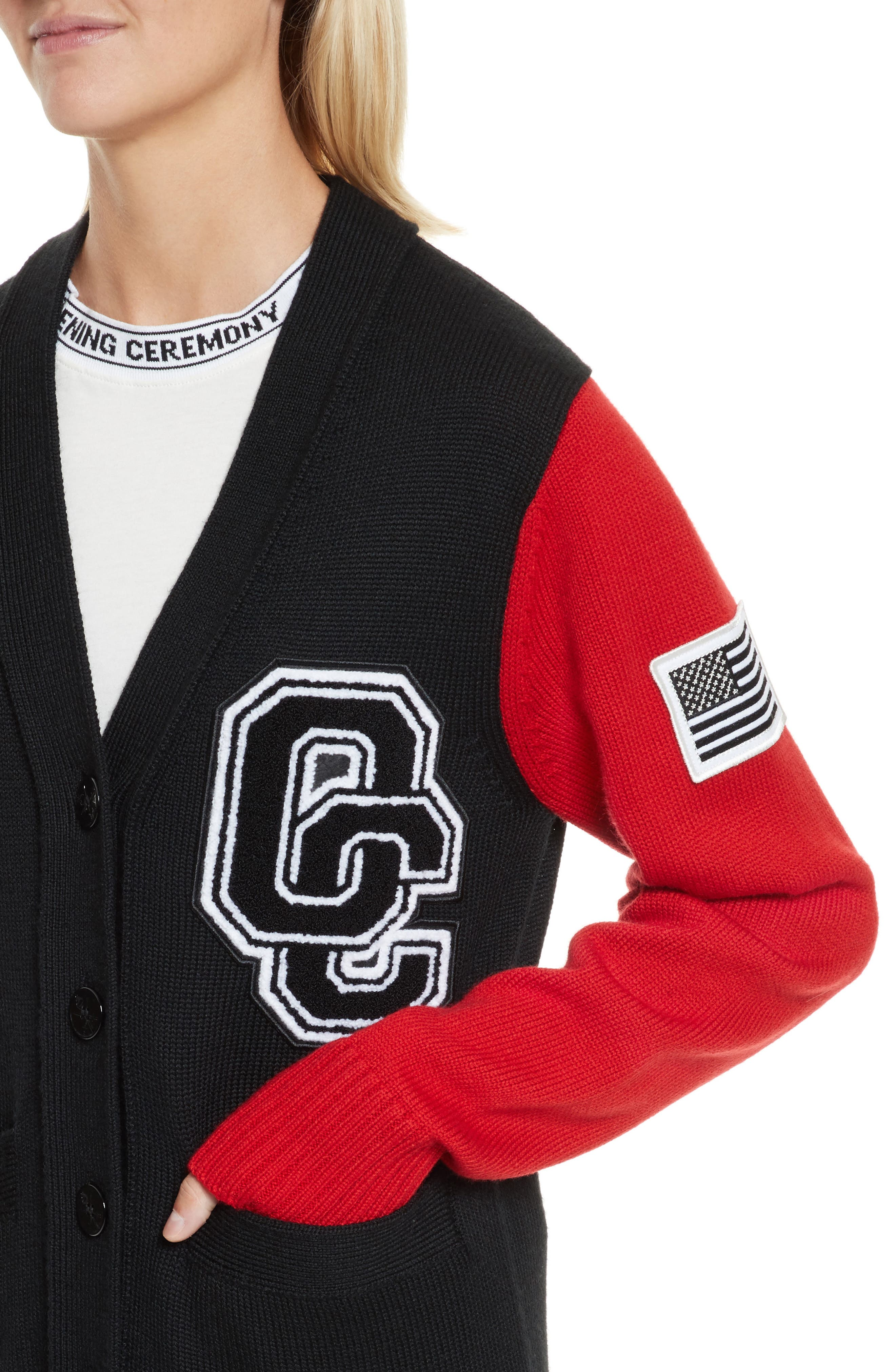 Logo Varsity Cardigan,                             Alternate thumbnail 4, color,                             Black Multi