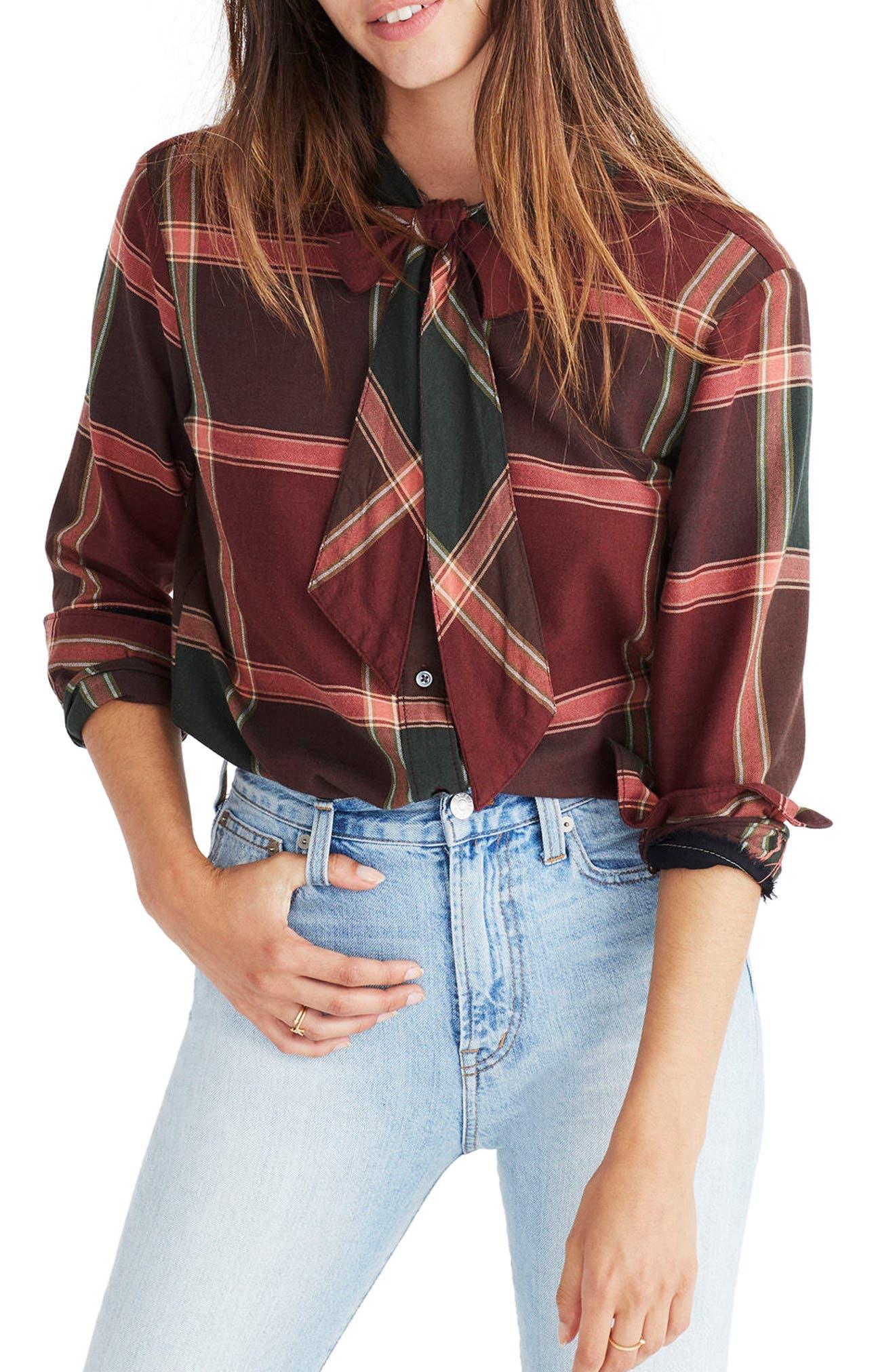 Plaid Tie Neck Shirt,                         Main,                         color, Cherry Wood