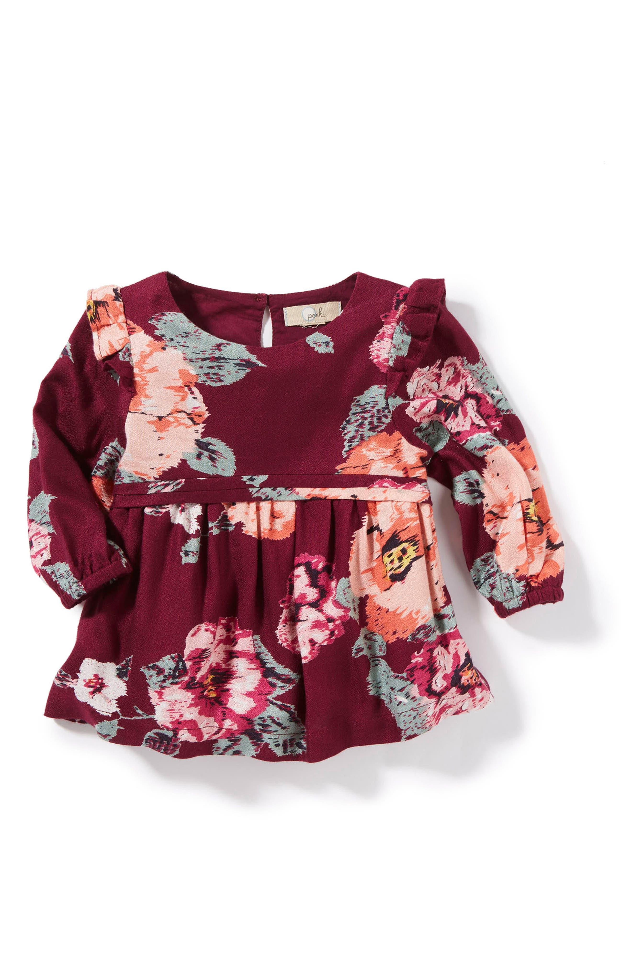 Jocelyn Floral Print Dress,                         Main,                         color, Plum
