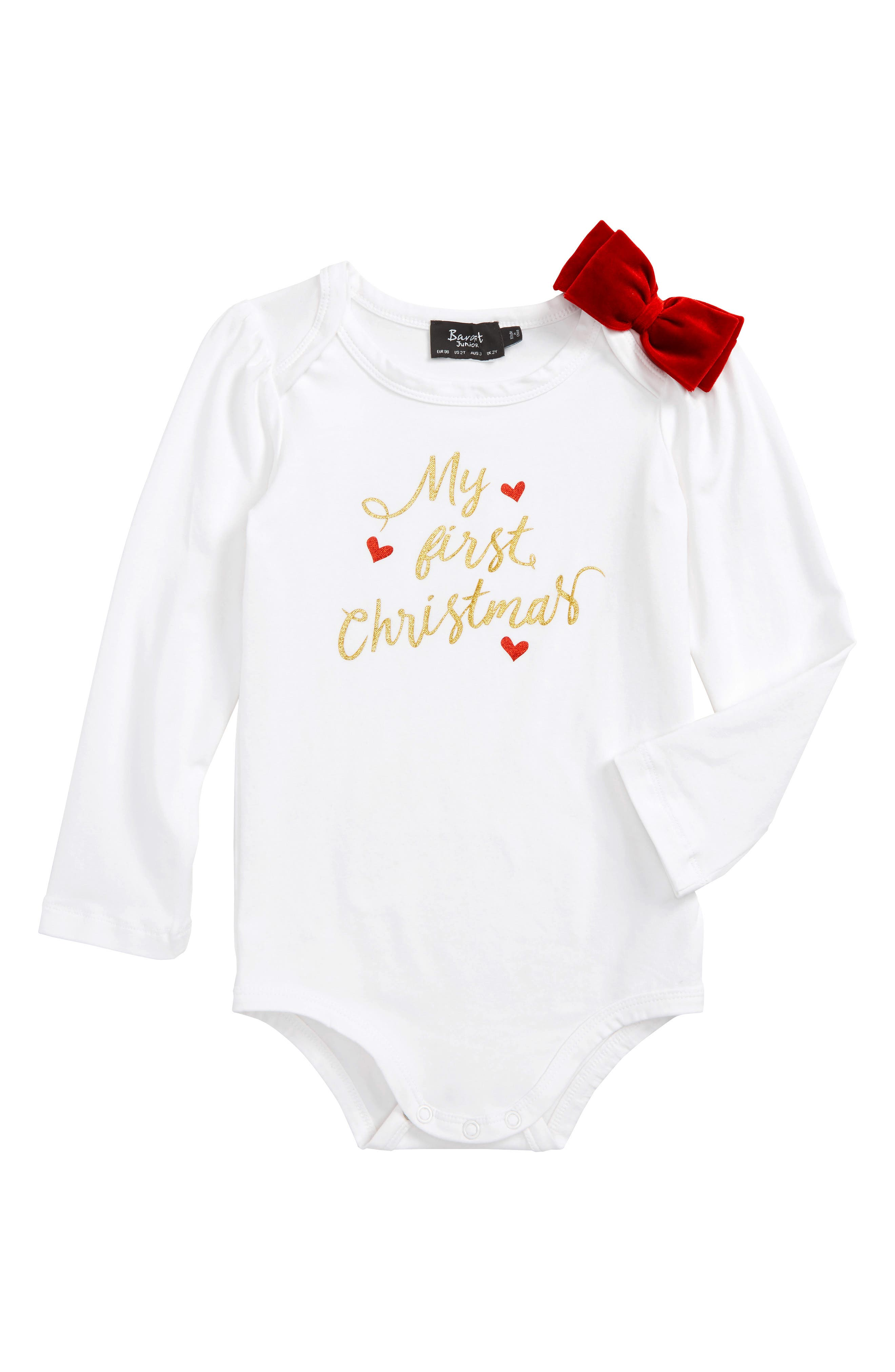 My First Christmas Bodysuit,                         Main,                         color, Ivory