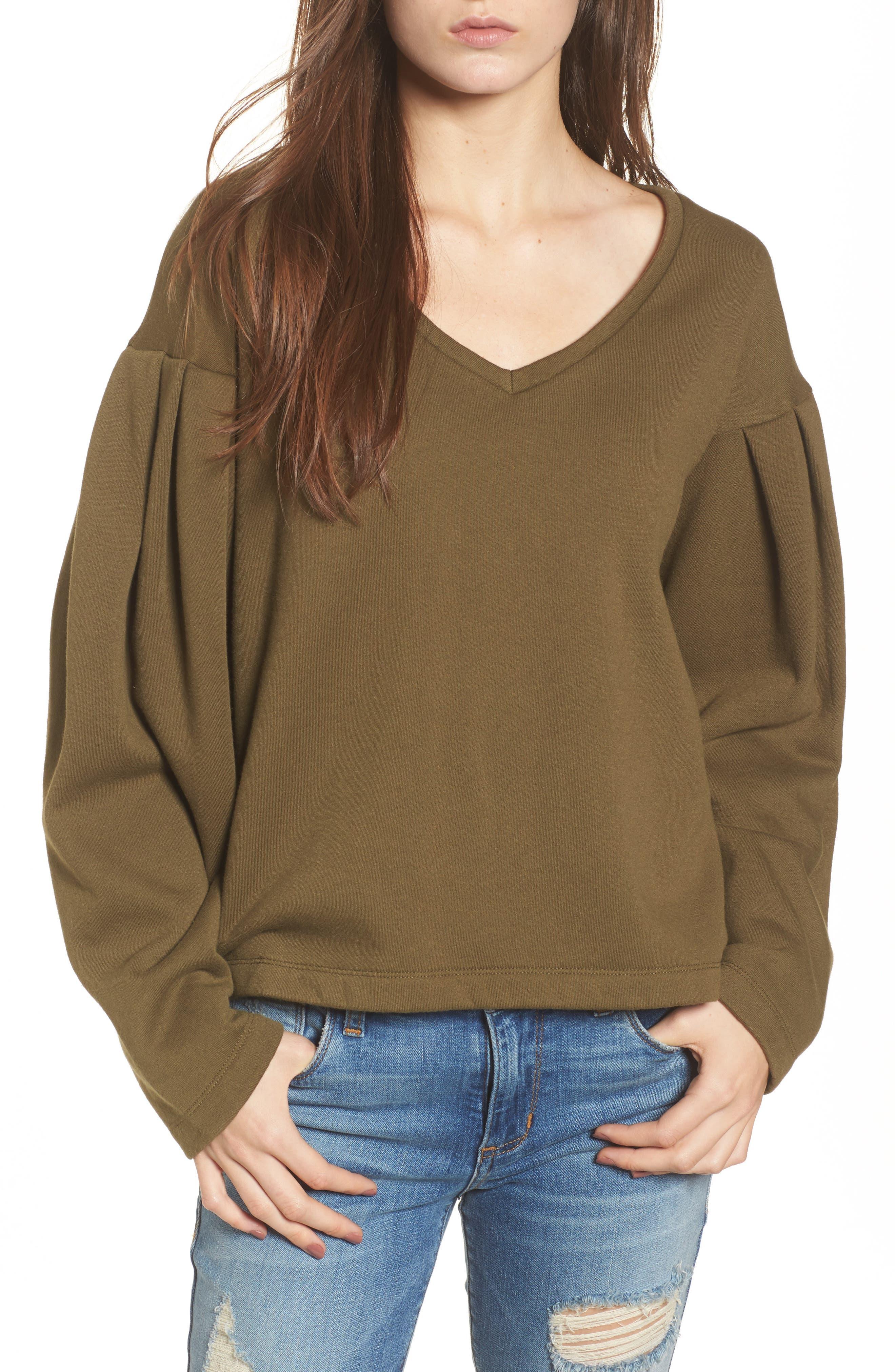 Pleat Sleeve Sweater,                             Main thumbnail 1, color,                             Olive Dark