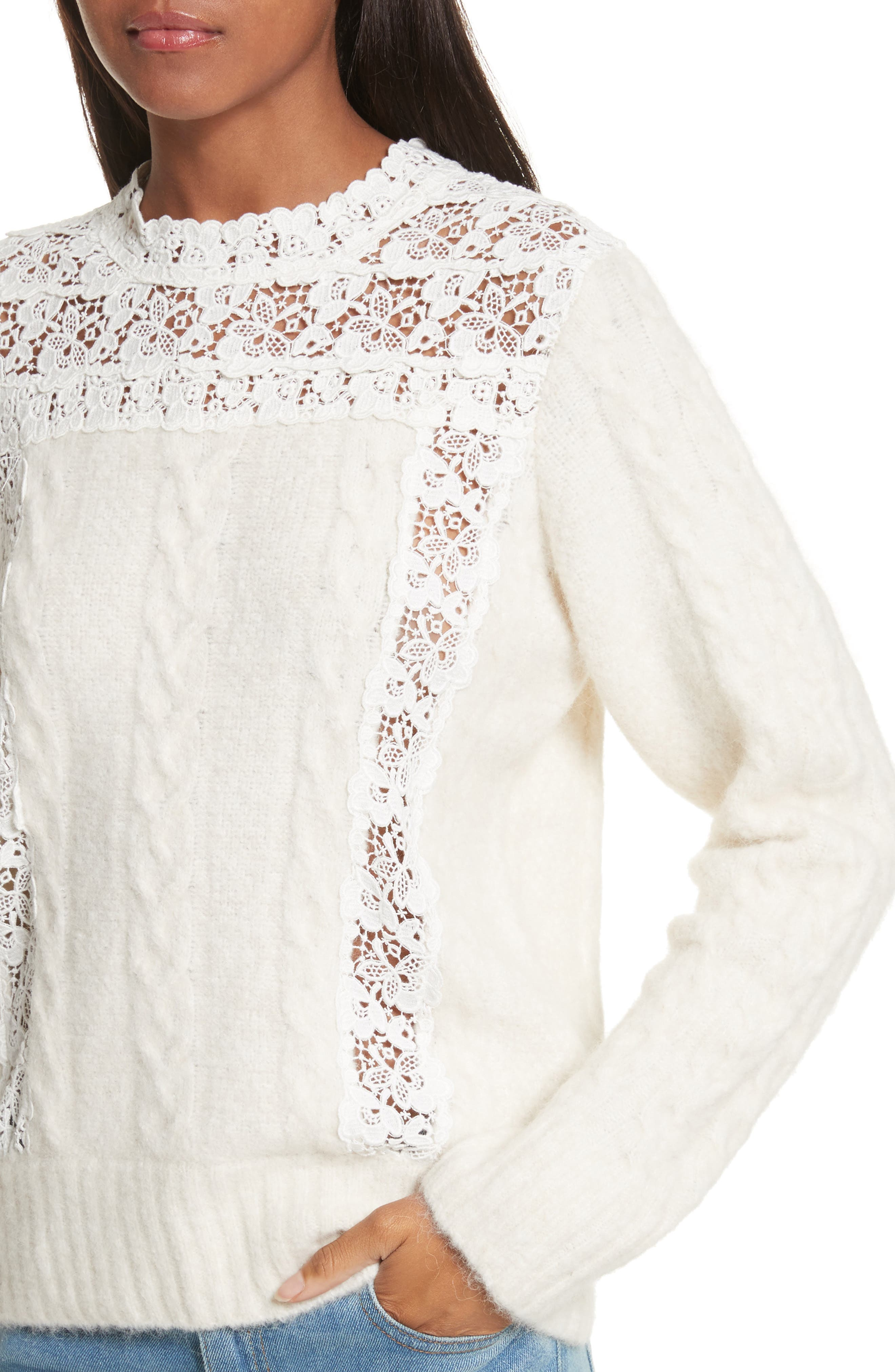 Lace Lace Inset Sweater,                             Alternate thumbnail 4, color,                             Cream