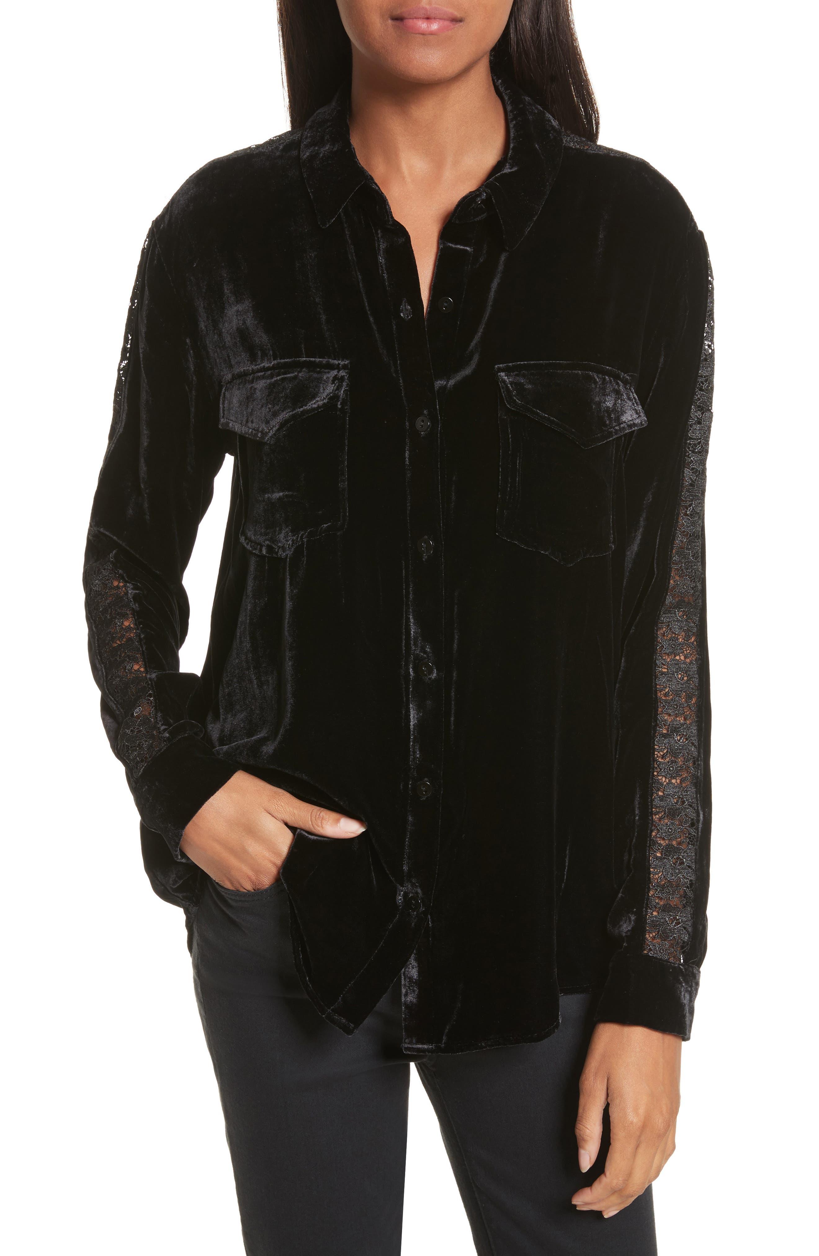 Lace Trim Velvet Shirt,                         Main,                         color, Black