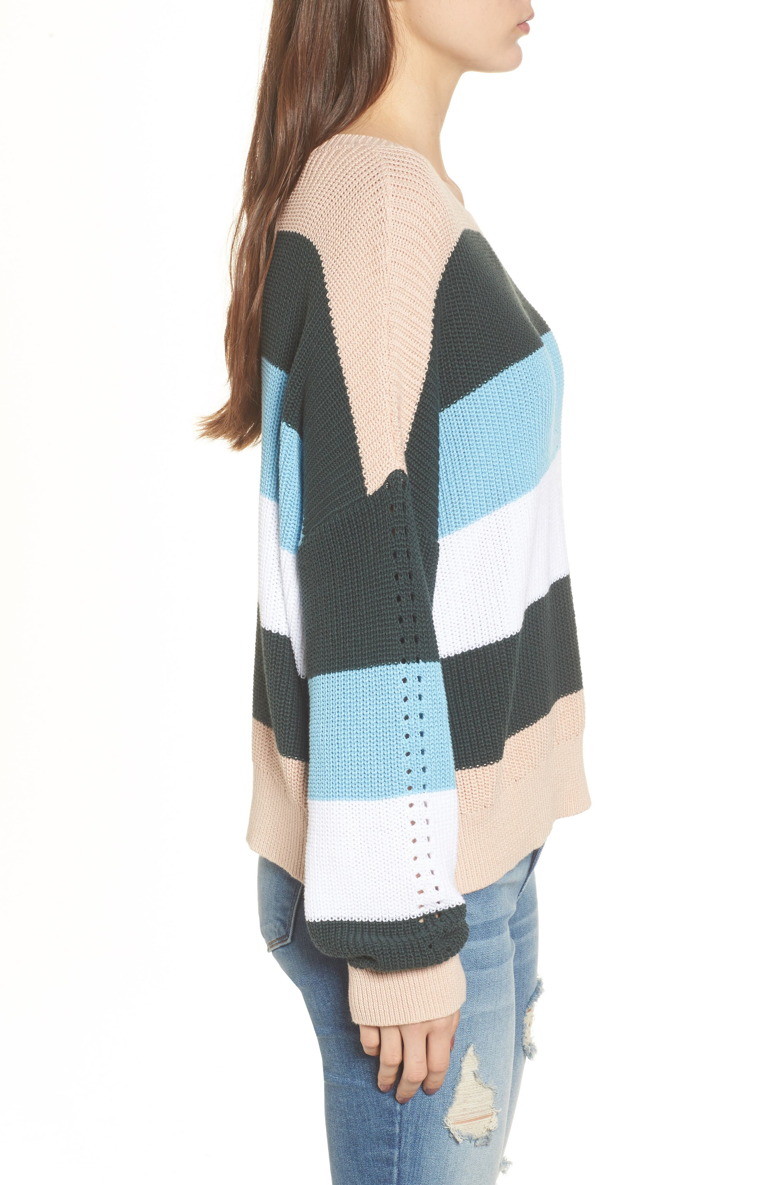 Stripe Sweater,                             Alternate thumbnail 3, color,                             Pink Hero Felicity Stripe