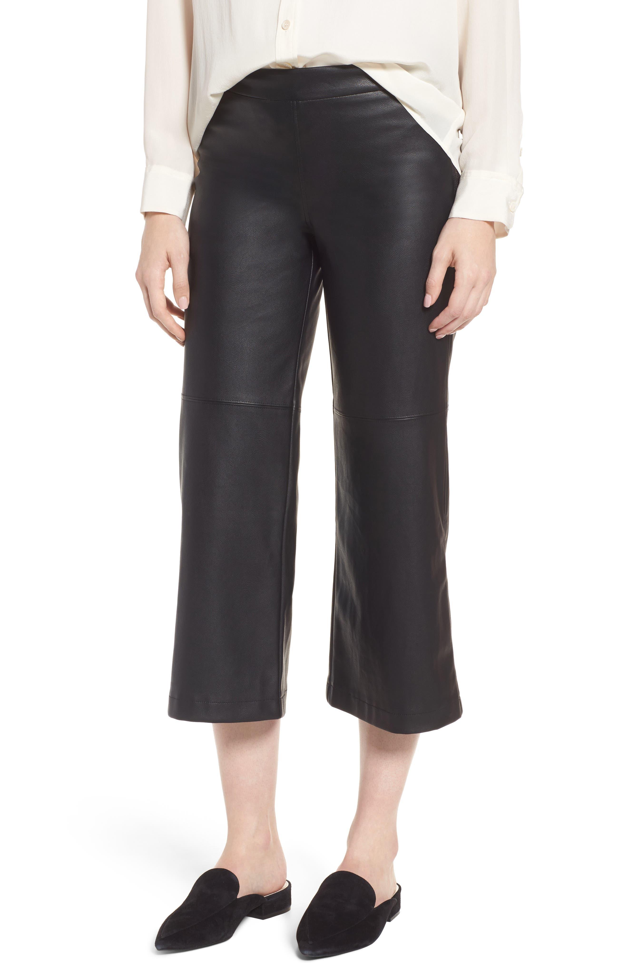 Varick Wide Leg Faux Leather Culottes,                             Main thumbnail 1, color,                             Black
