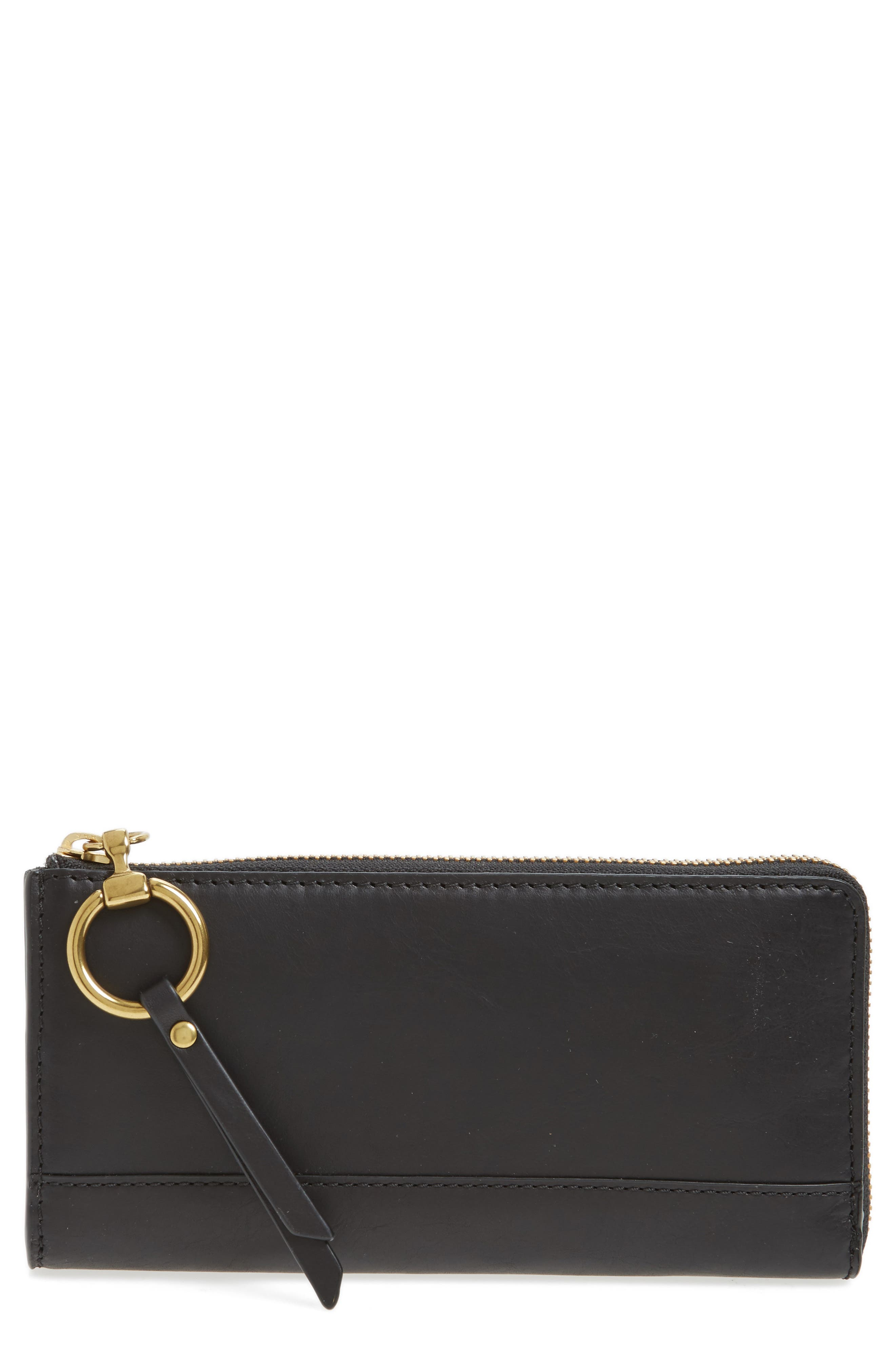 Large Ilana Harness Leather Zip Wallet,                         Main,                         color, Black