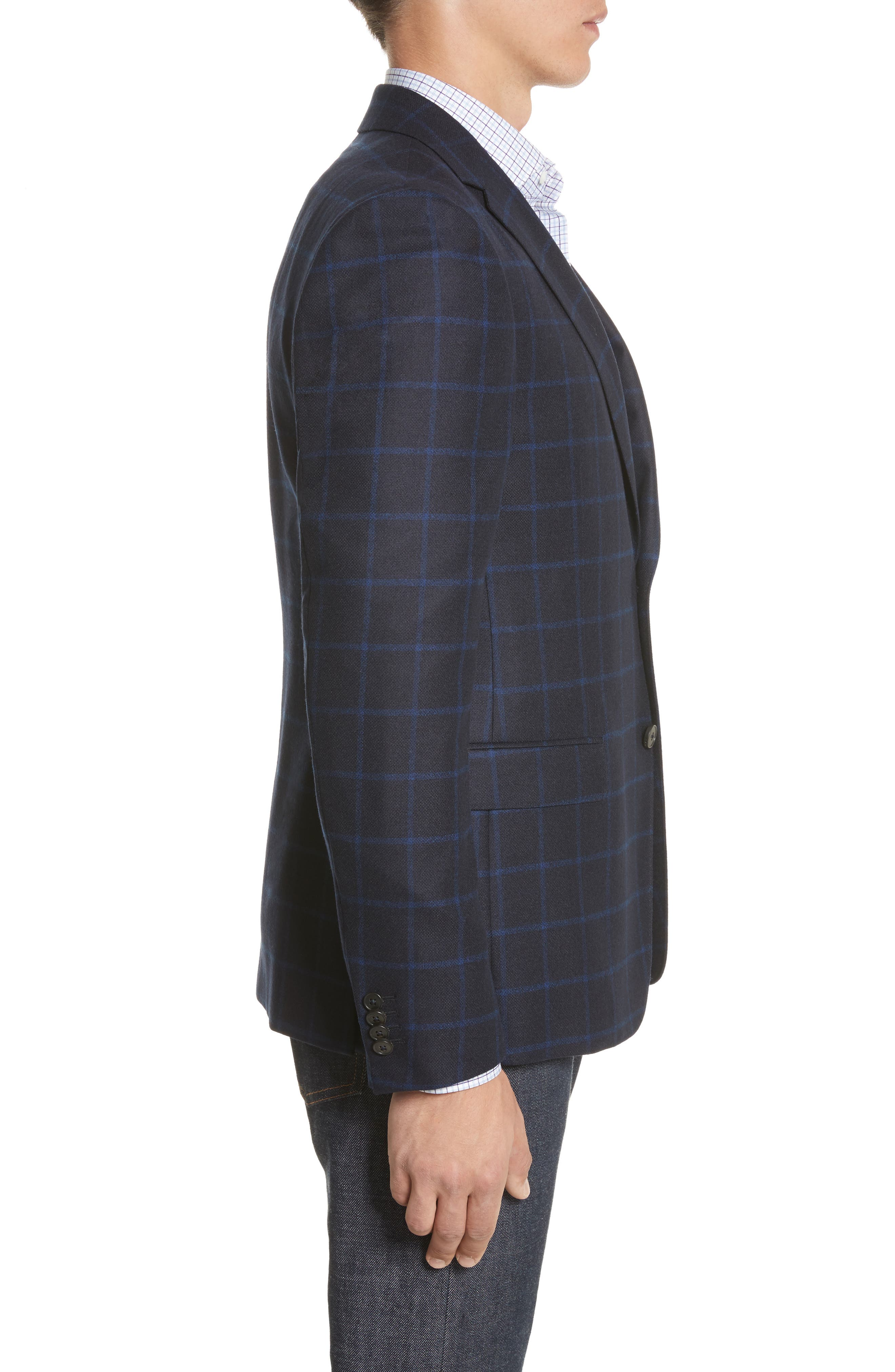 Classic Fit Check Wool Sport Coat,                             Alternate thumbnail 3, color,                             Navy Check